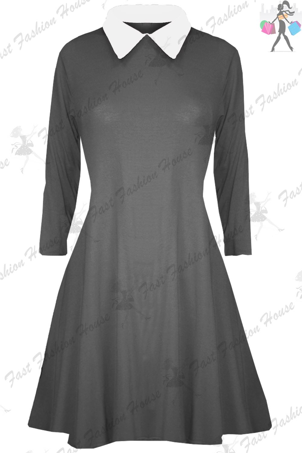 Black dress with white peter pan collar - Womens Swing Dress Ladies Peter Pan Collar Long