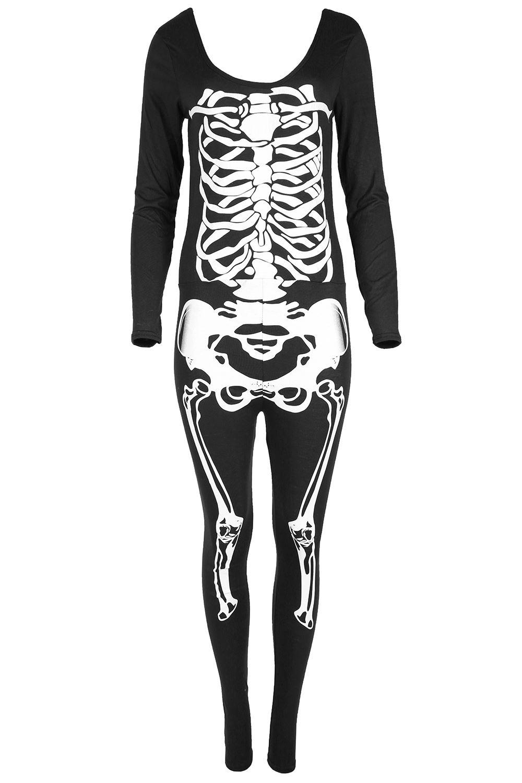 Damen-Halloween-Trikot-Skelett-Knochen-Enganliegende-Tunika-T-