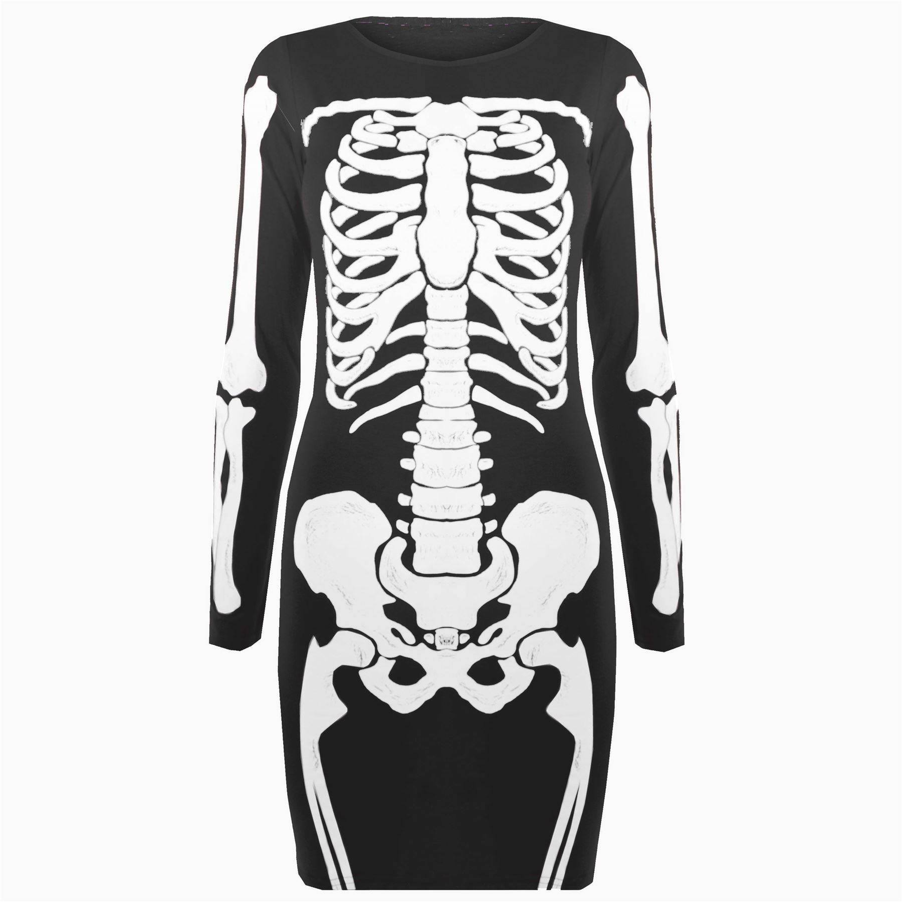 Damen Halloween Trikot Skelett Knochen Enganliegende Tunika T-shirt ...
