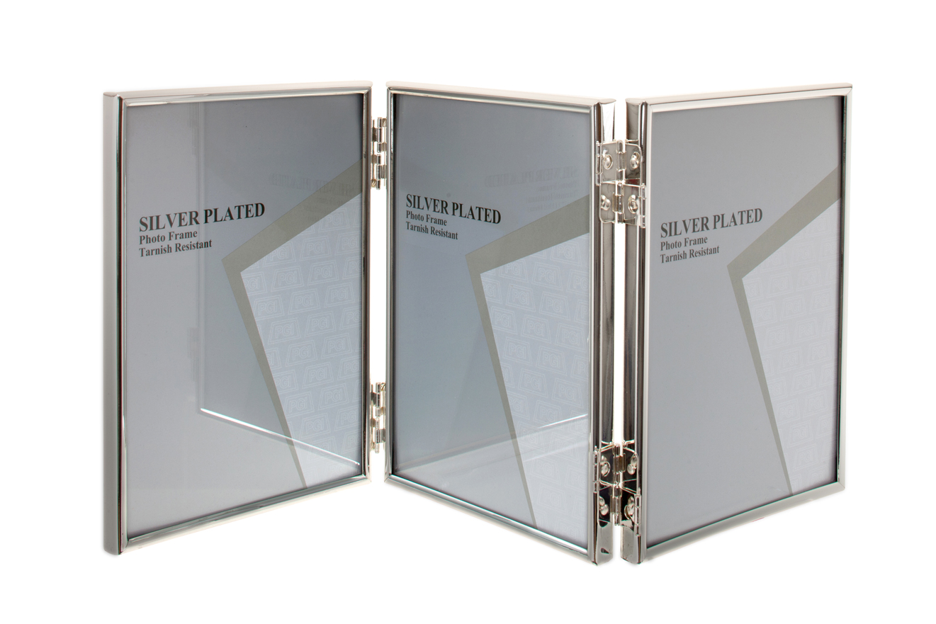 unity silver plated thin edge triple picture photo frame 3 5x5 4x6 5x7 6x8 8x10. Black Bedroom Furniture Sets. Home Design Ideas