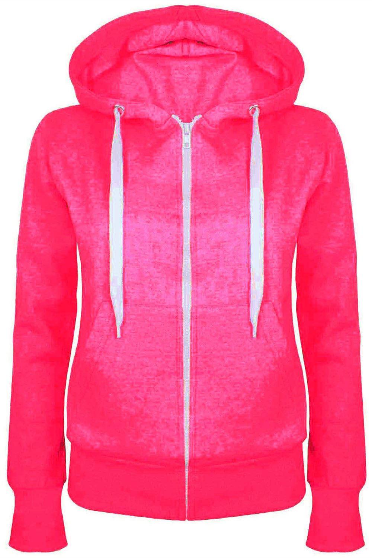 Ladies Plain Hoody Girls Zip Top Womens Hoodies Sweatshirt ...