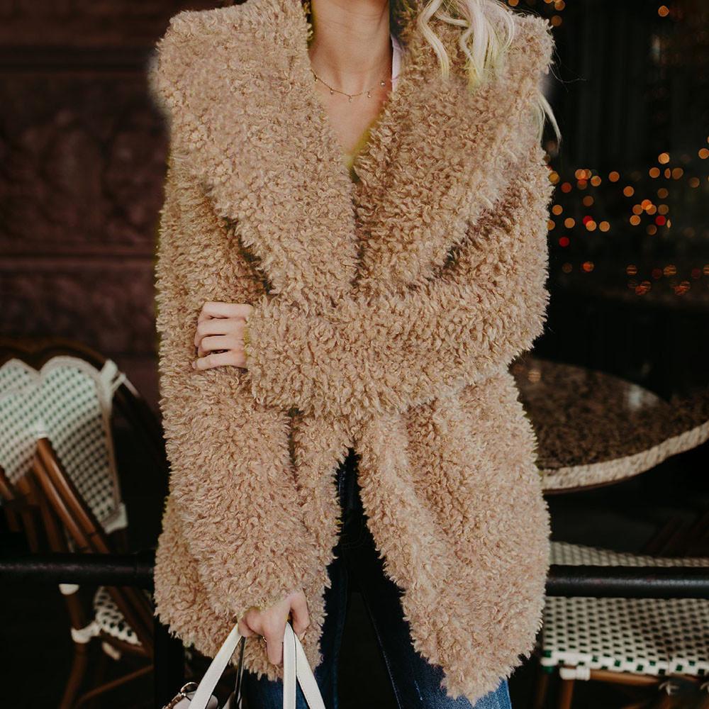 Neu-Damen-Winter-Teddybaer-Flauschig-Mantel-Warm-Kunstwolle-Jacke-Oberbekleidung