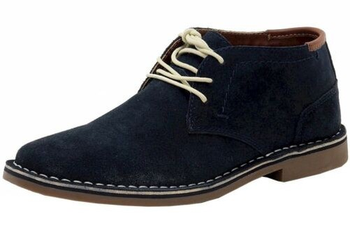 Kenneth Cole Men's Desert Sun Navy Sueded Leather Chukka Boots shoes