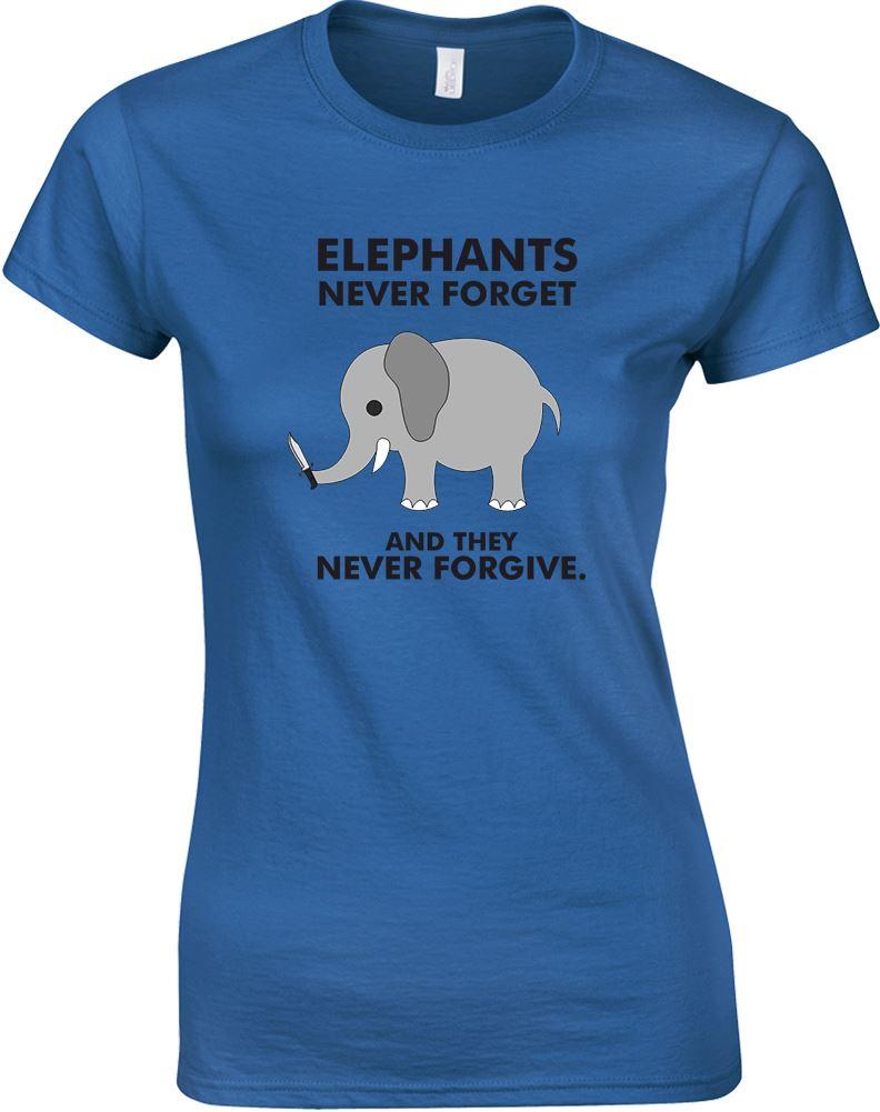 ELEFANTI-Never-Forget-E-They-mai-perdonare-T-shirt-da-donna-stampata