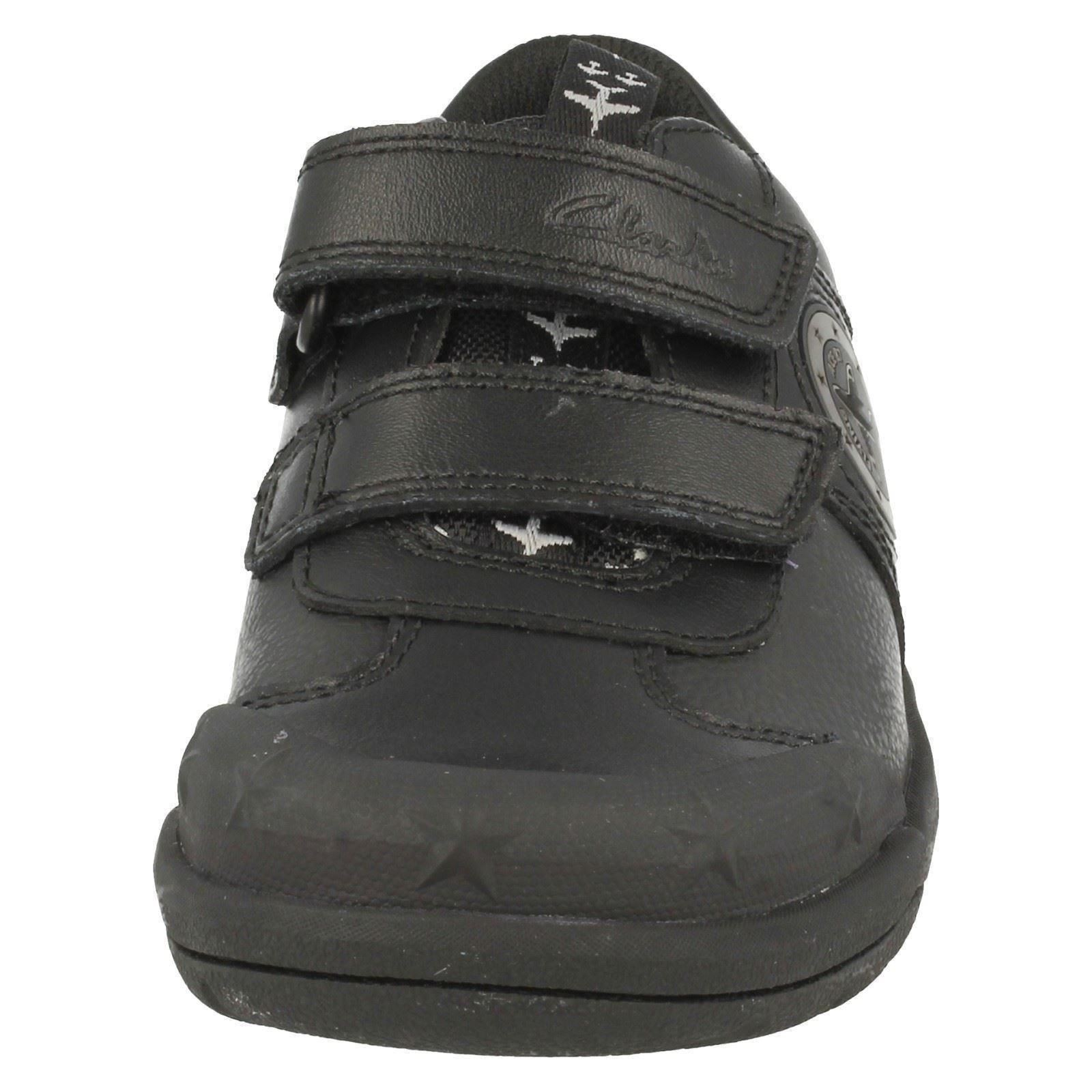 Boys Clarks Hook /& Loop Leather//Synthetic School Shoes with Lights Jetsky Fun