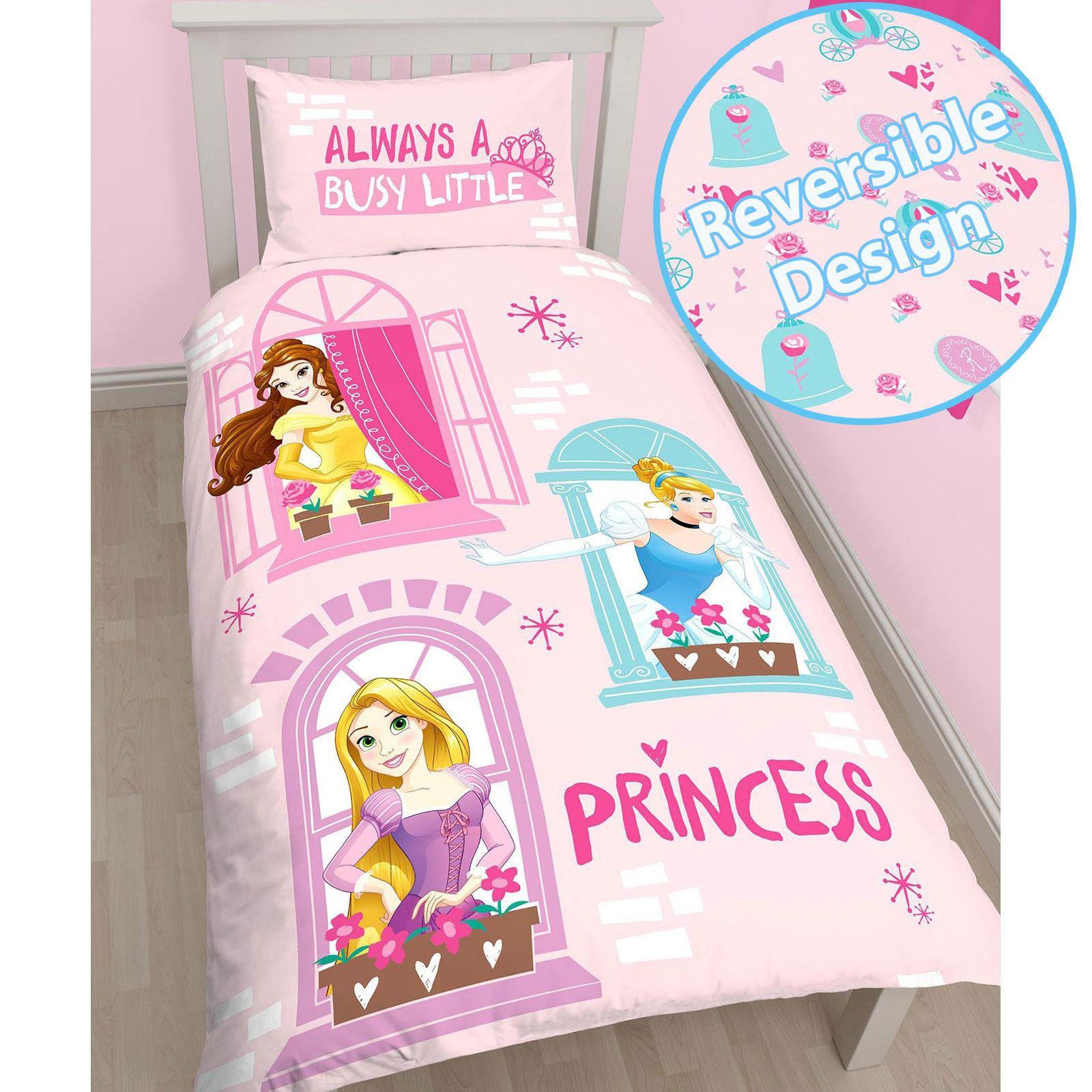 filles-reversible-simple-Parure-de-lit-Panneau-Princesse-Disney-Coccinelle