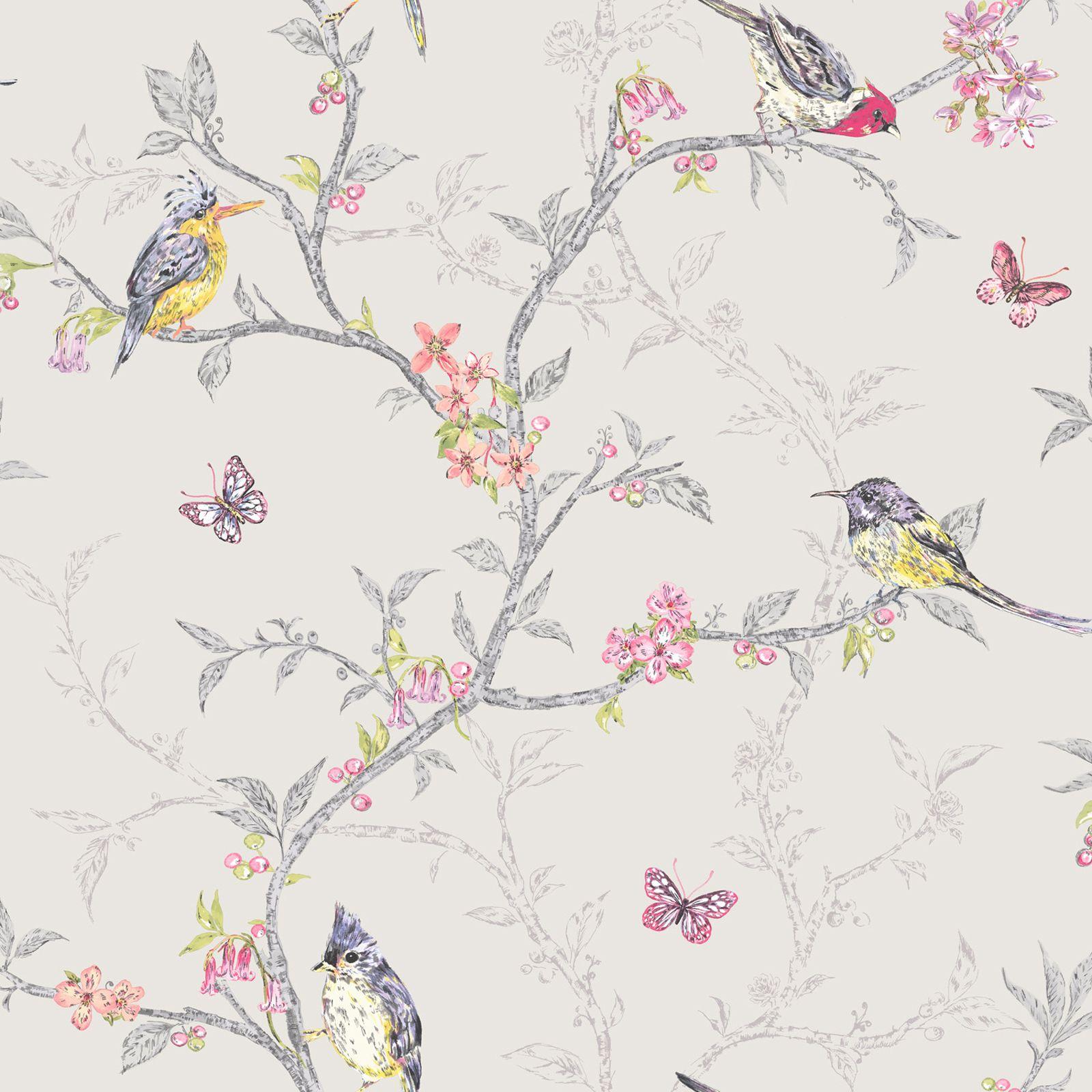 Holden Decor Phoebe Birds Wallpaper In Soft Teal Dove