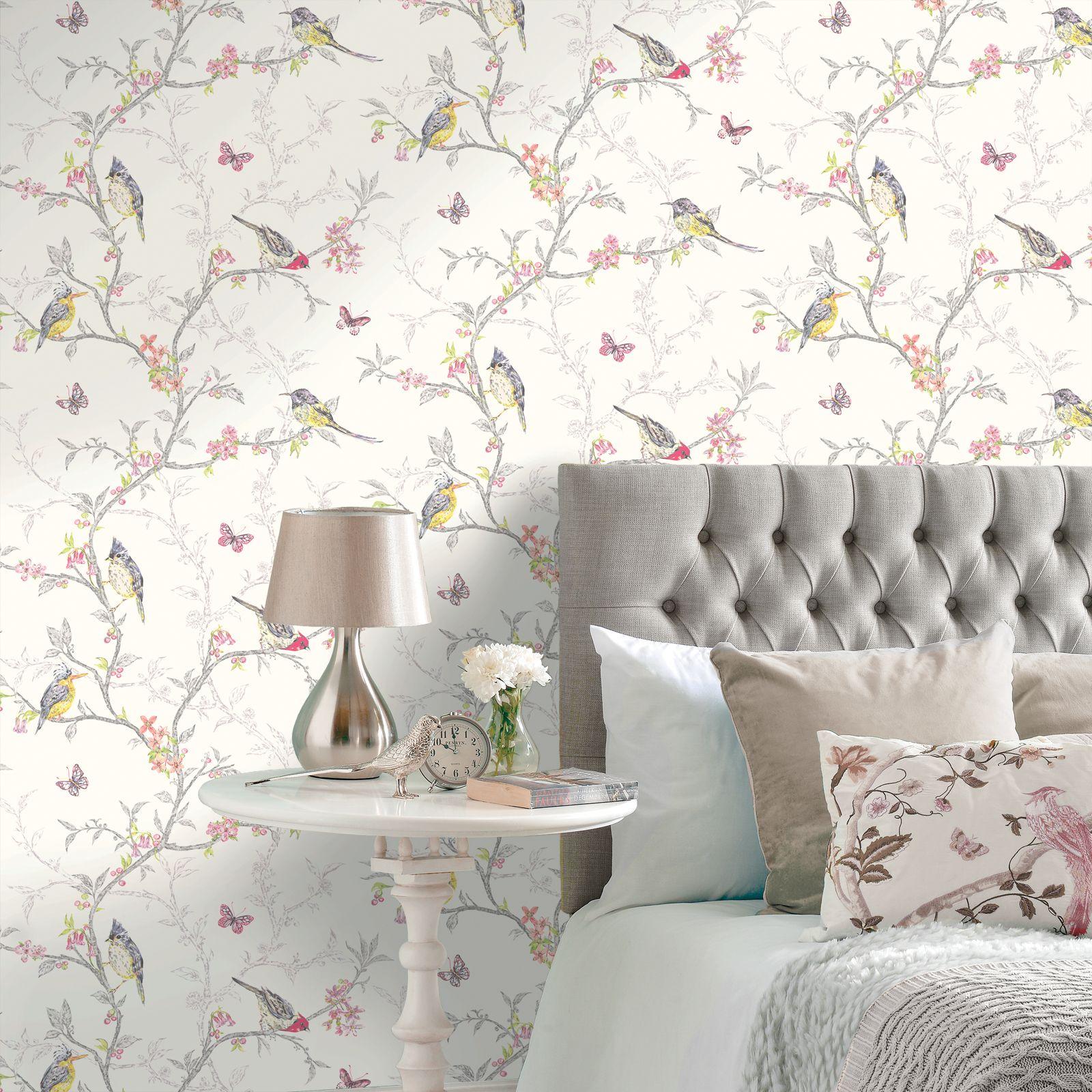 holden decor phoebe birds wallpaper - blue, pink, teal, grey, white
