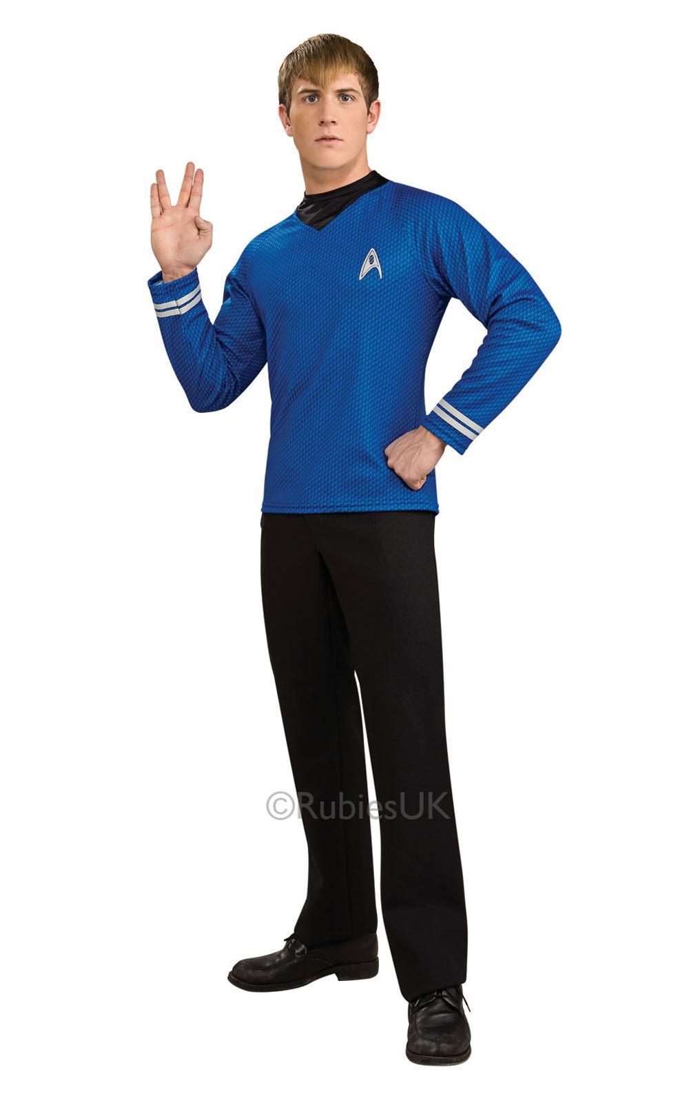 Adulto-DE-LUJO-Spock-Camisa-disfraz-para-hombre-Vulcano-Star-Trek-Sci-Fi-Disfraz