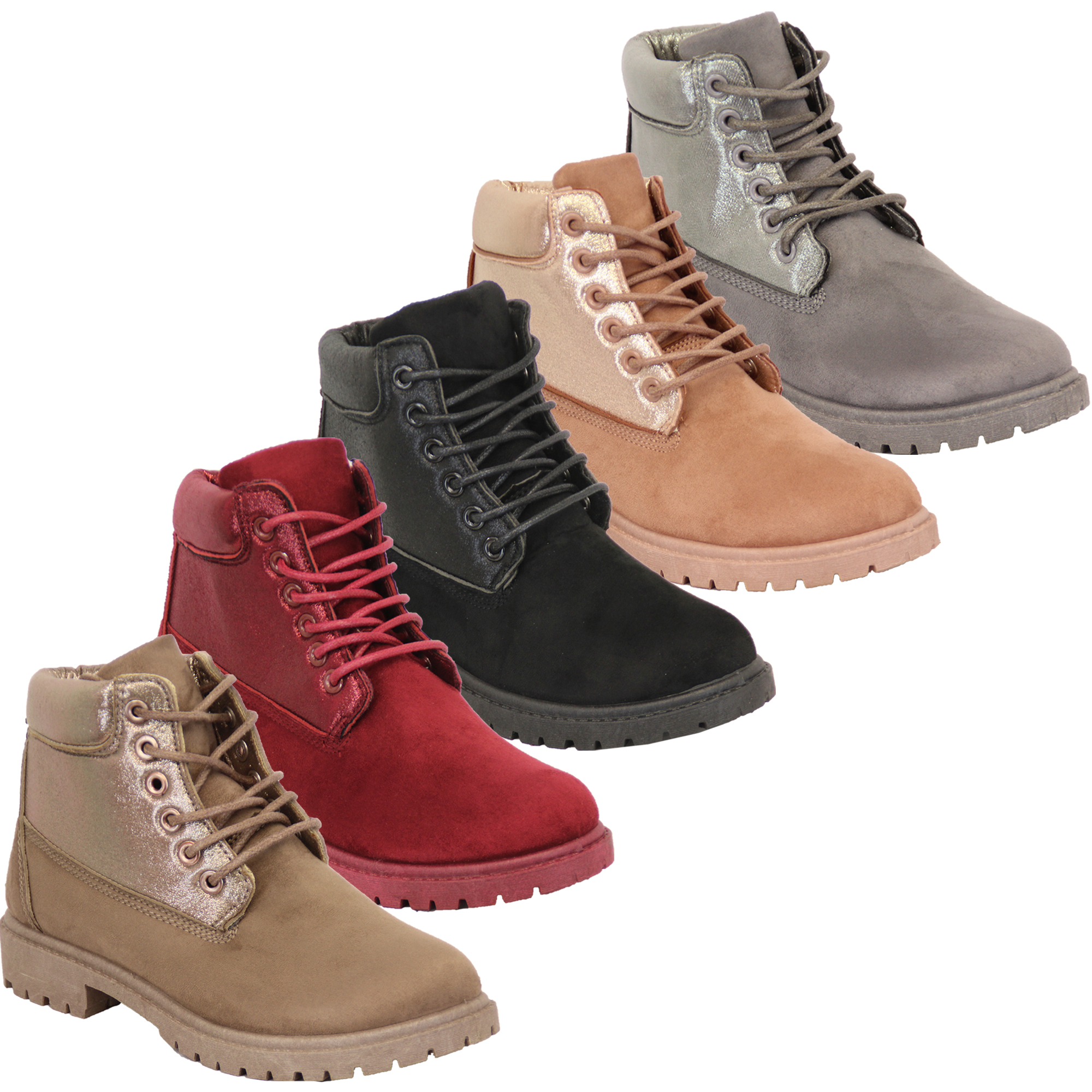 Details about Ladies Boots Womens Shoes Suede Look High Ankle Lace Up Casual Winter Fashion