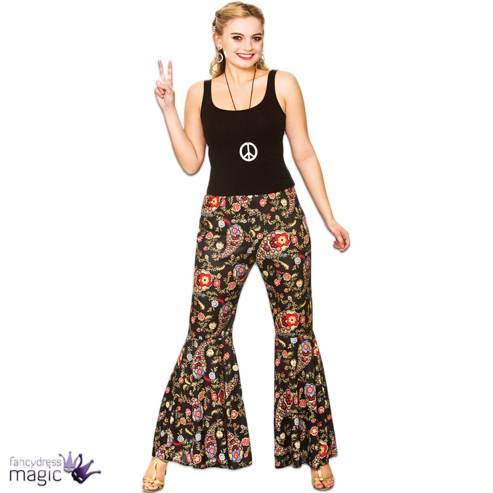adultes femmes vas fus es hippie ann es 60 60 pantalon costume d guisement ebay. Black Bedroom Furniture Sets. Home Design Ideas
