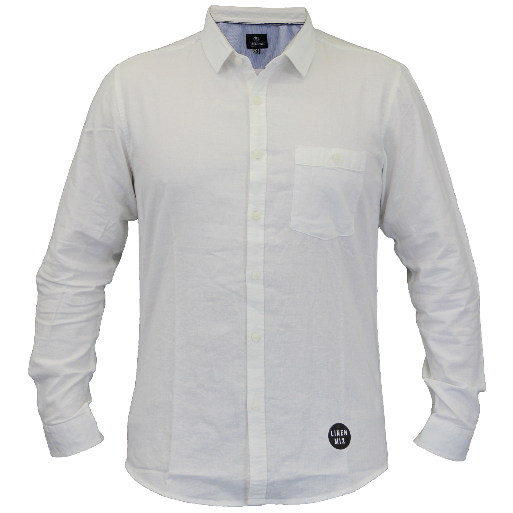 mens linen shirt threadbare collared long sleeved formal