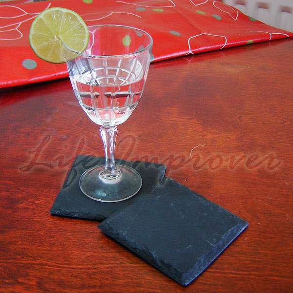 Set of 2 4 8 square hand cut natural slate stone drink coaster place mats table ebay - Slate drink coasters ...
