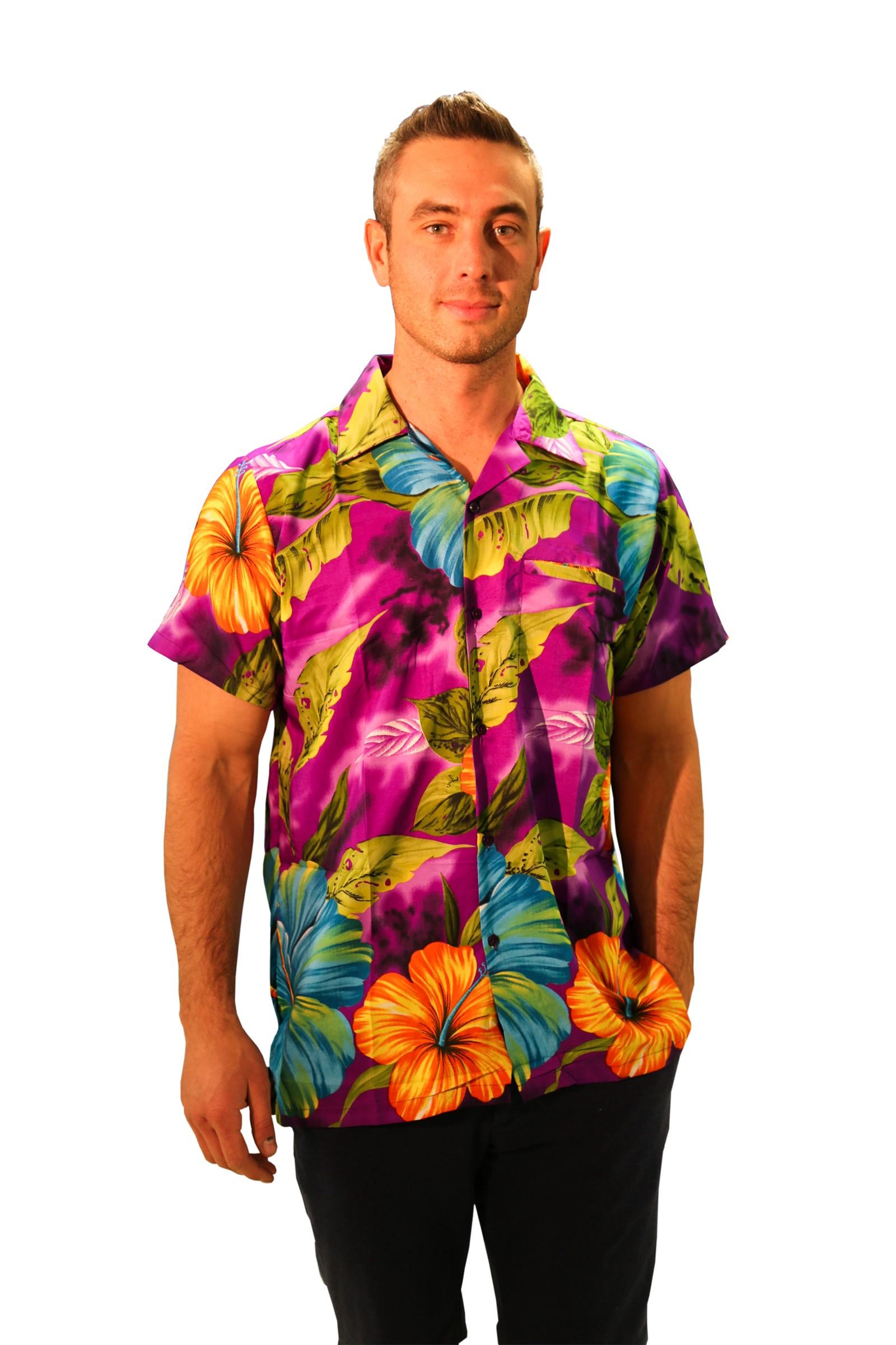 Mens hawaiian shirt hibiscus short sleeve stag beach for Hawaiian shirt fancy dress