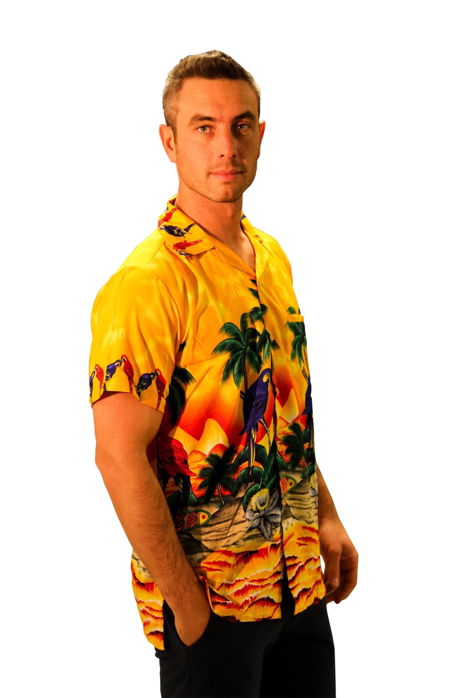 Camisa-Hawaiana-para-hombre-Loro-manga-corta-Despedidas-De-Soltero-Playa