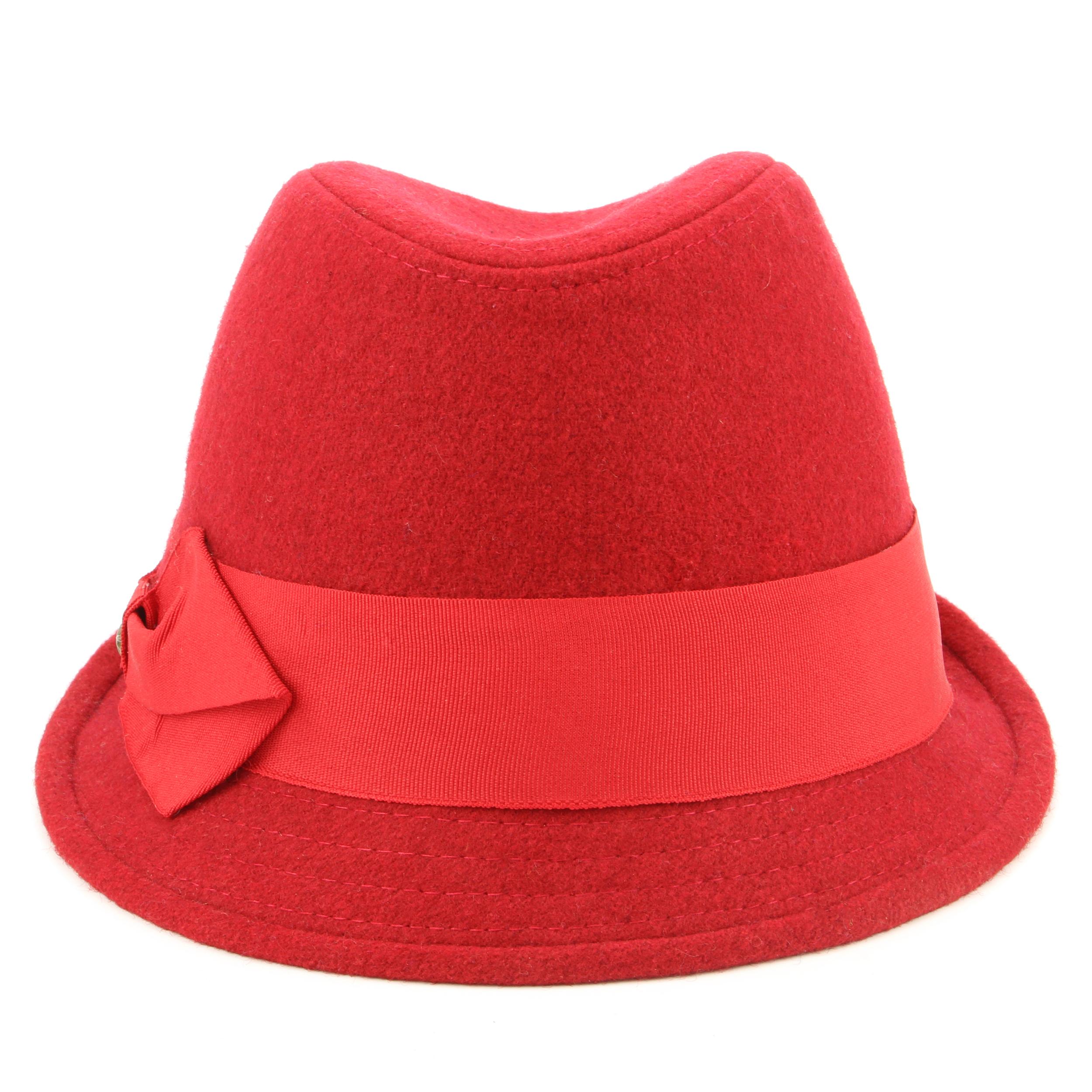 Lana Trilby Cappello Feltro Donna Hawkins Tesa Stretta Fiocco Rosso ... a0cad99ae7d4