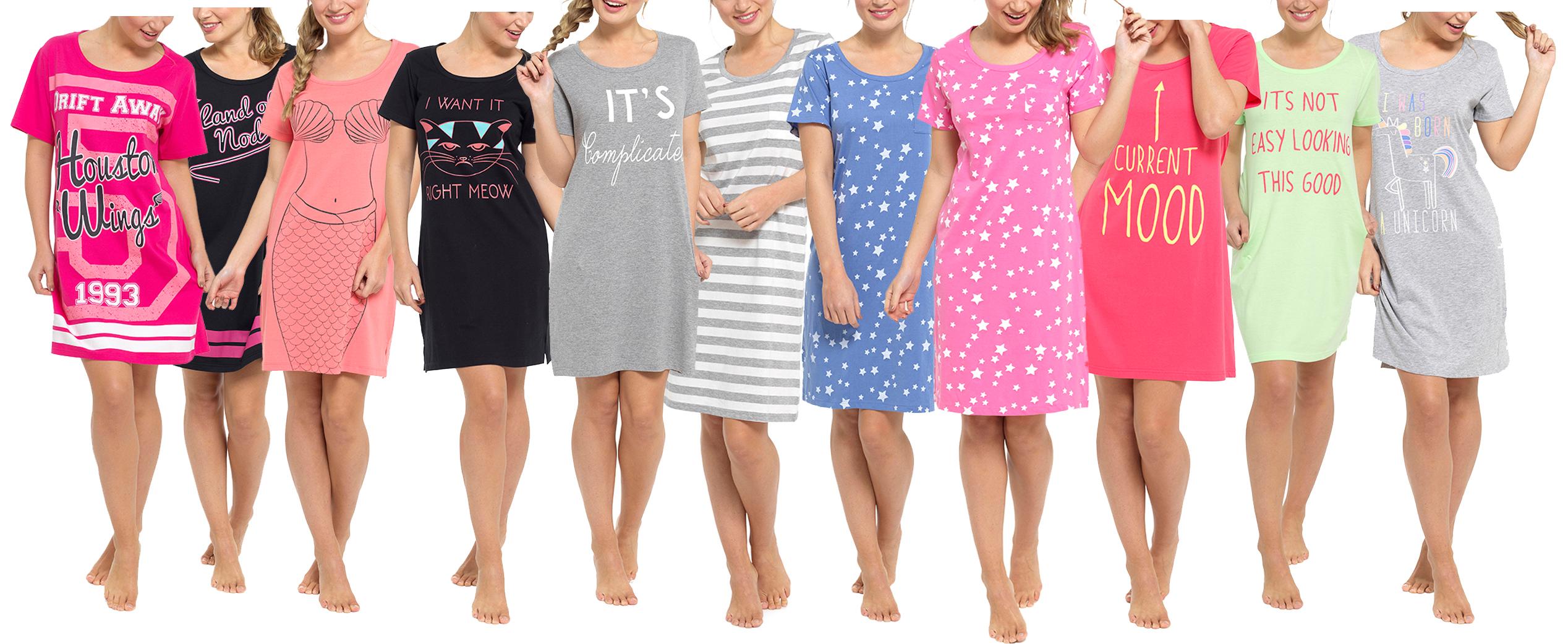 c5de04889d Selezione delle signore del cotone Short Sleeve primavera estate camicie da  notte