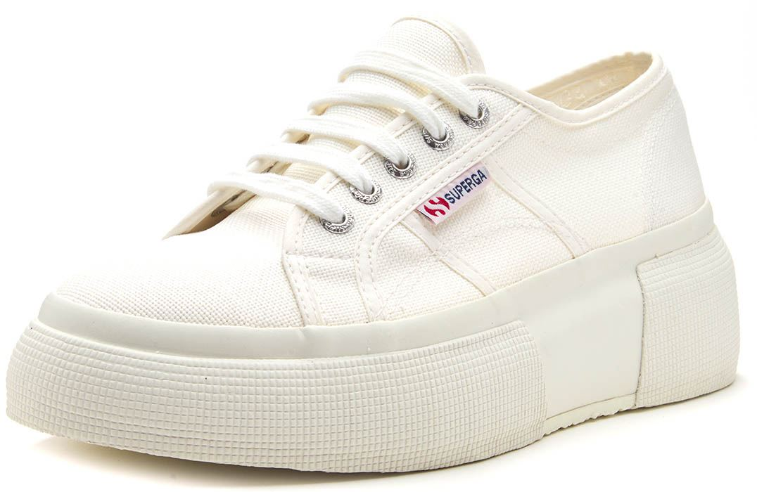 Details zu Superga 2287 Cotw Keilabsatz Damen Plateau Turnschuhe Canvas Schuhe Rosa & Weiß