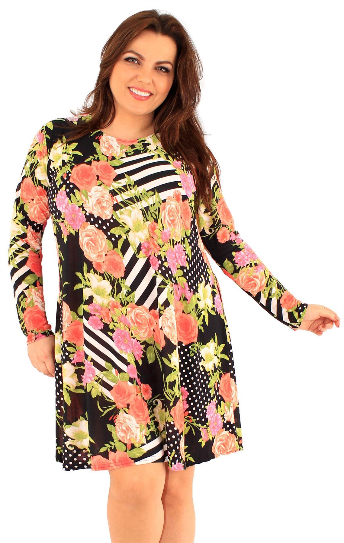 Vestido con flores manga larga