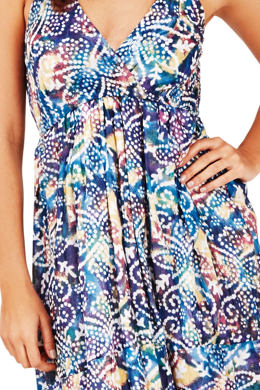 pistachio damen rote oder blau gepunktet aztekenmuster riemchen knielanges kleid ebay. Black Bedroom Furniture Sets. Home Design Ideas