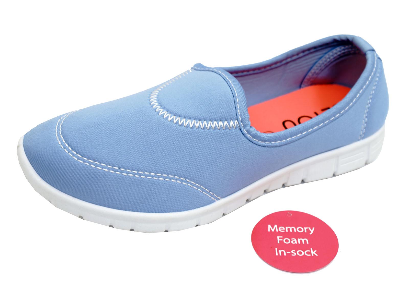 Damen blau zum reinschlüpfen Memory Foam Komfort Wanderschuhe Turnschuhe