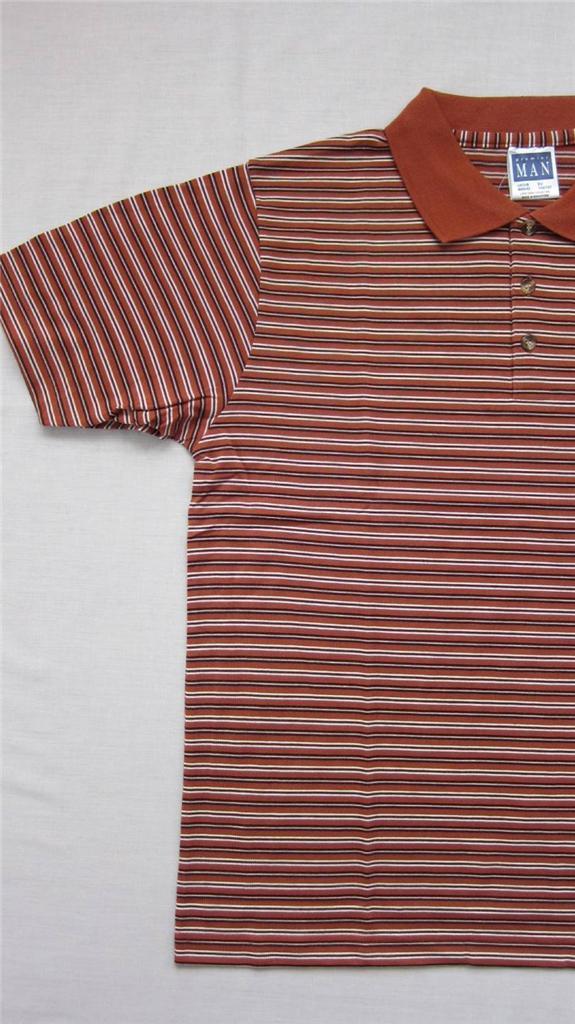 Camisa-Polo-para-hombre-PREMIER-MANGA-CORTA-TALLA-M-GB-40-42-NARANJA-a-rayas
