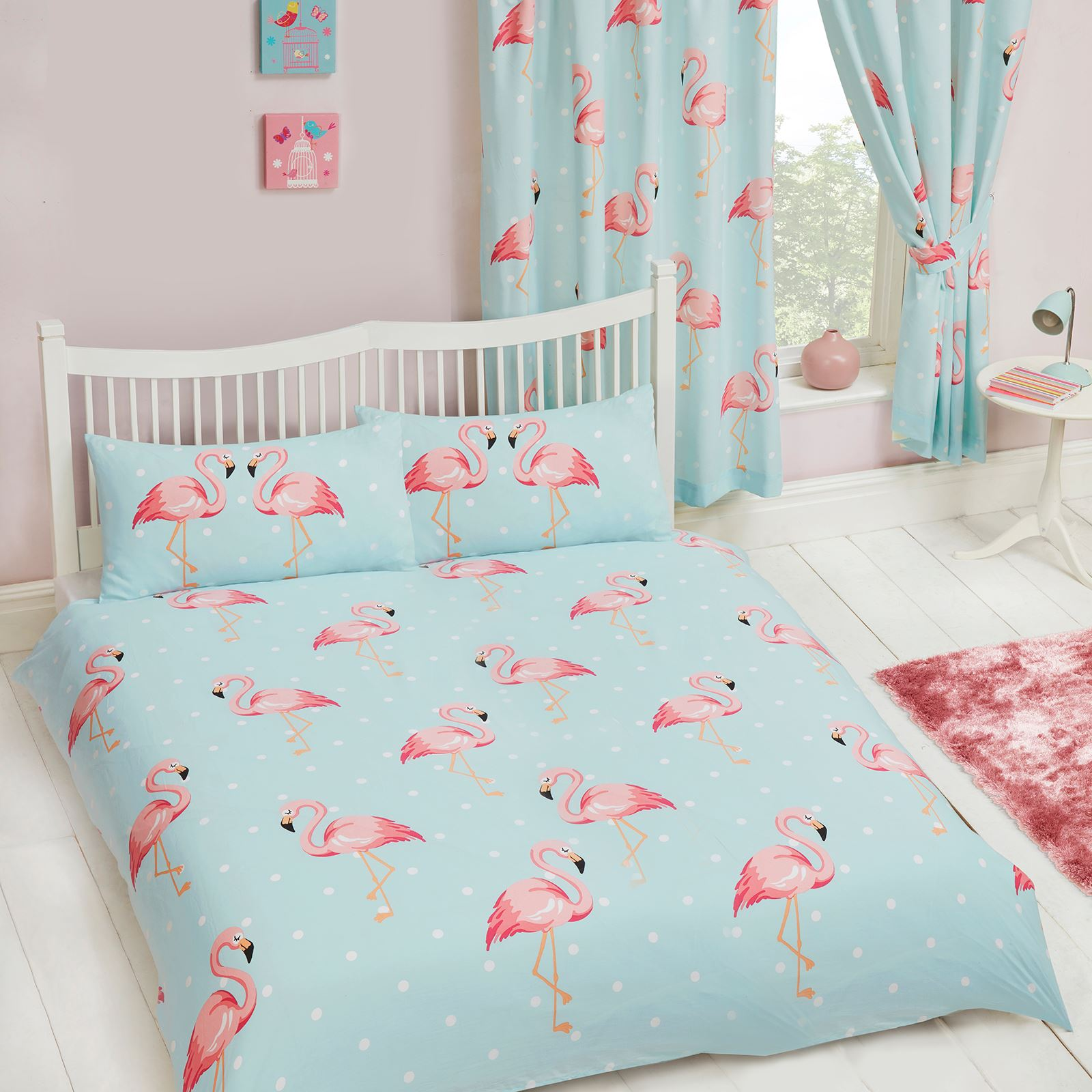 fifi flamant rose chambre gamme set housse de couette simple double rideaux ebay. Black Bedroom Furniture Sets. Home Design Ideas