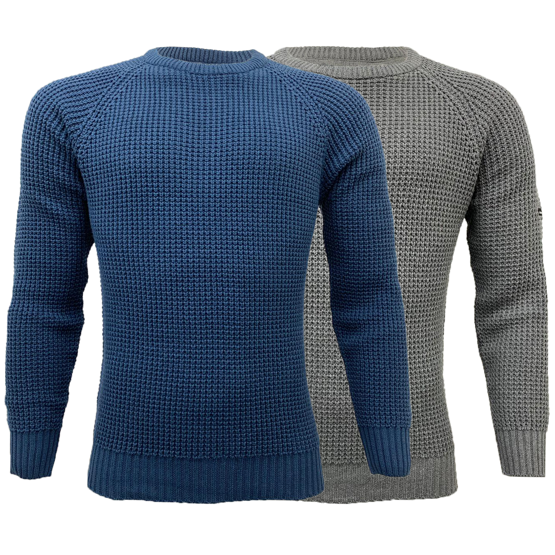 Mens-Jumper-MINEHEAD-Crosshatch-Knitted-Sweater-Pullover-Top-Raglan-Warm-New thumbnail 5