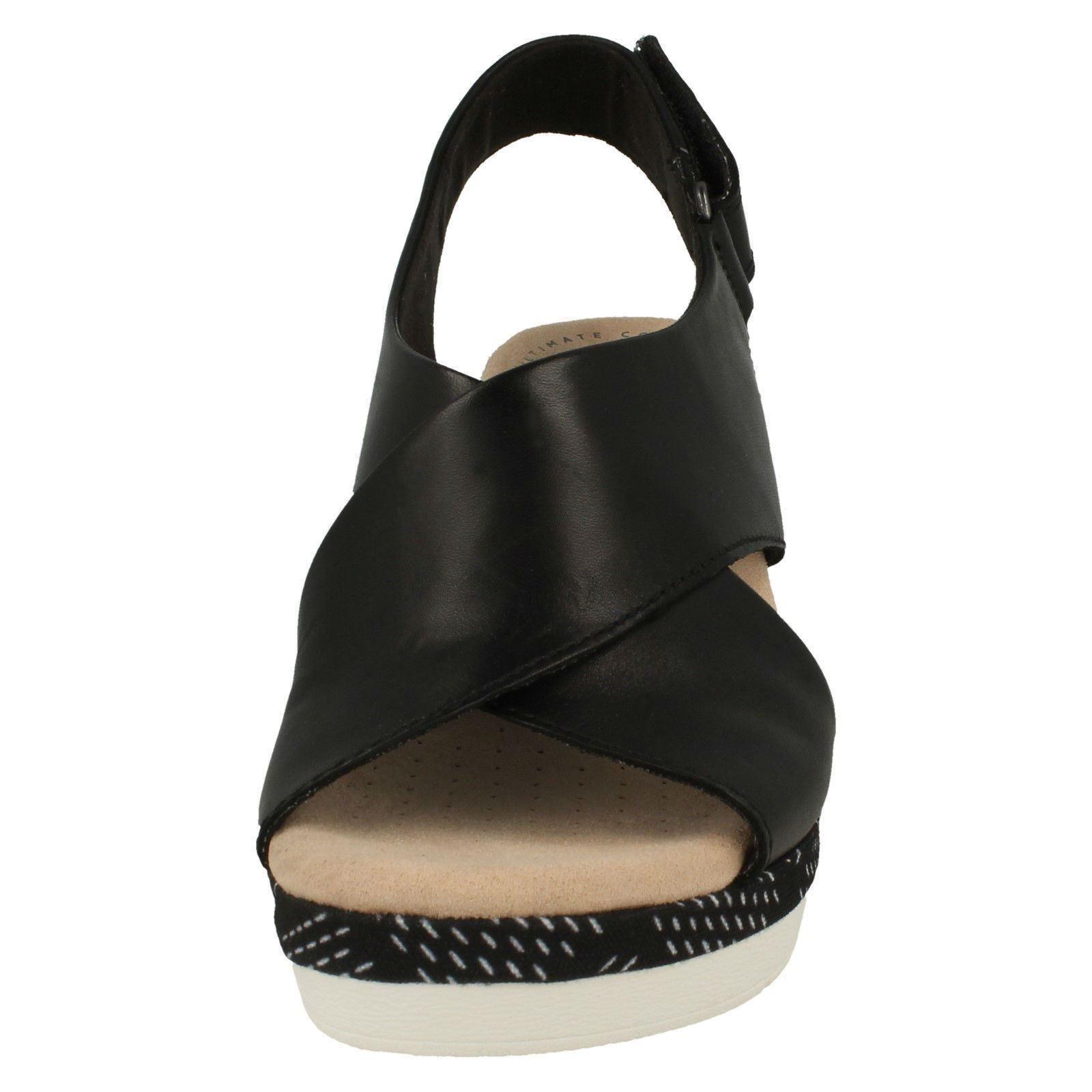 Ladies Clarks Wedge Wedge Wedge Heeled Slingback Sandals - Cammy Pearl 6ea9ad
