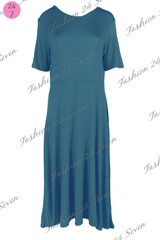 Femmes-Swing-Robe-Patineuse-Femmes-Uni-ligne-A-Mancheron-Evase-Franki-Haut-Long