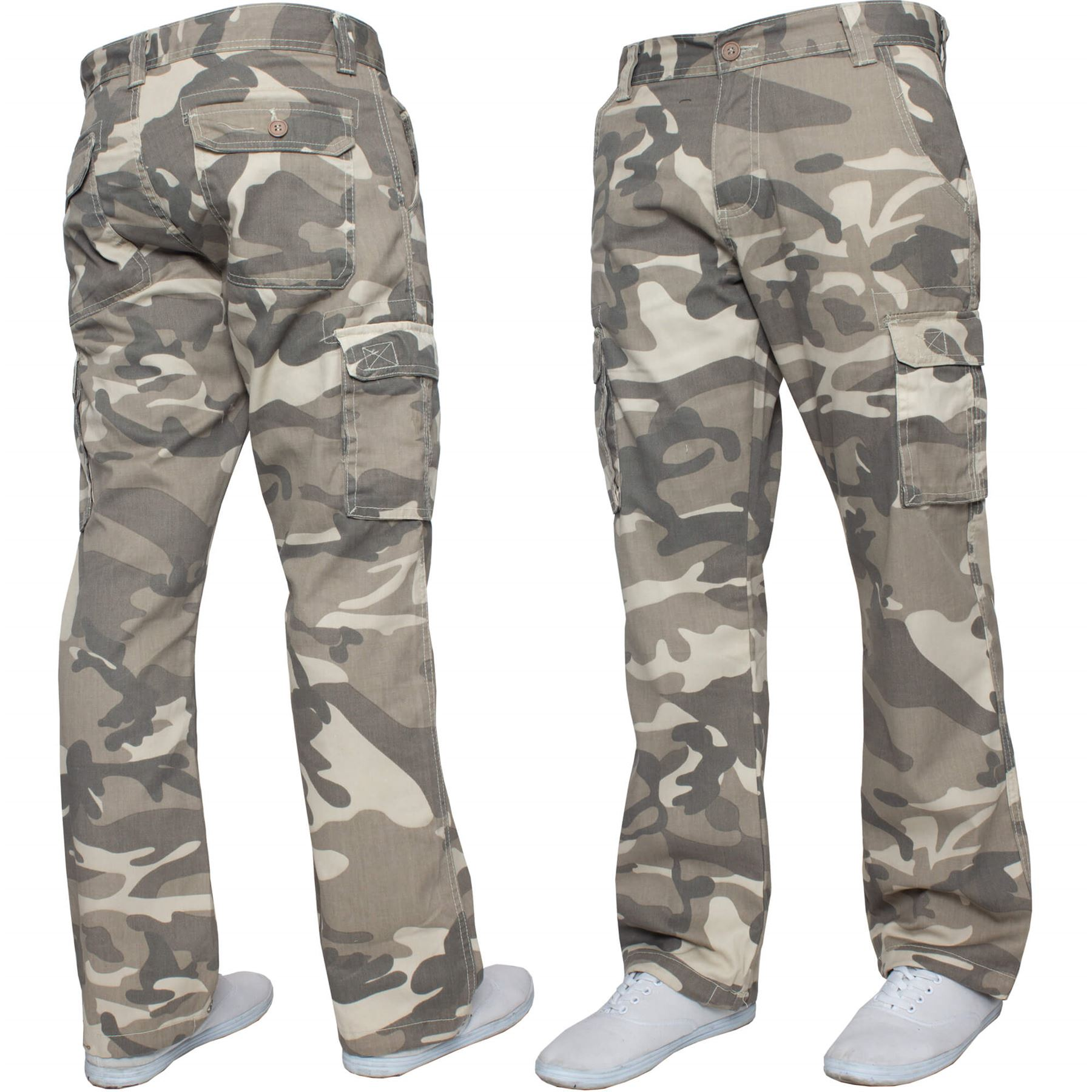 Kruze Mens Combat Cargo Trousers Camouflage Green Camo Summer Pants All Waist