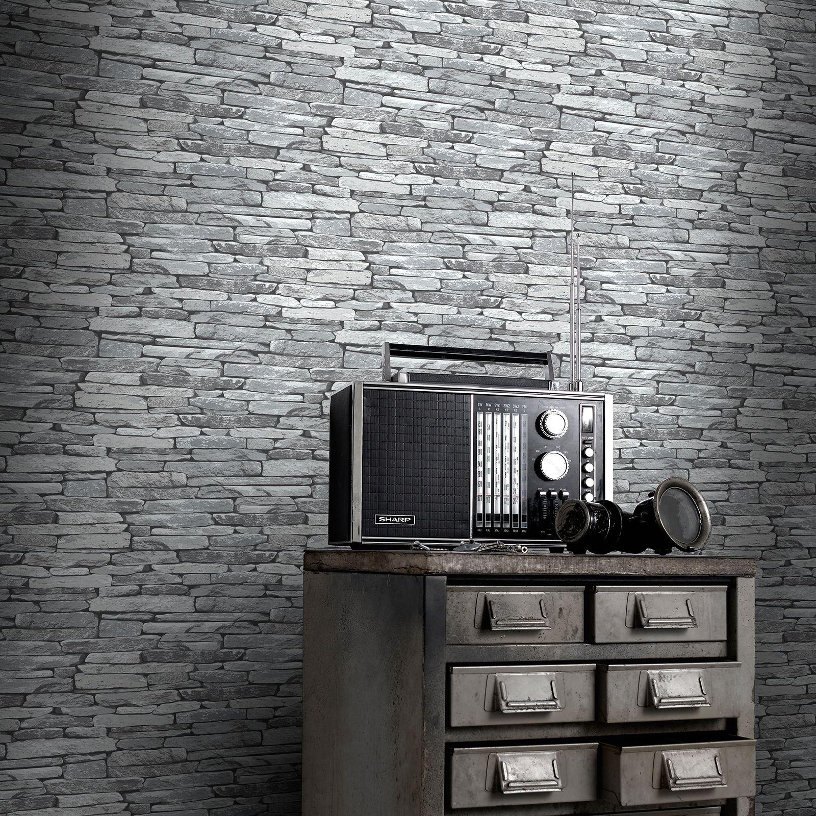 exklusiv ziegel tapete holz steineffekt wandtapete ebay