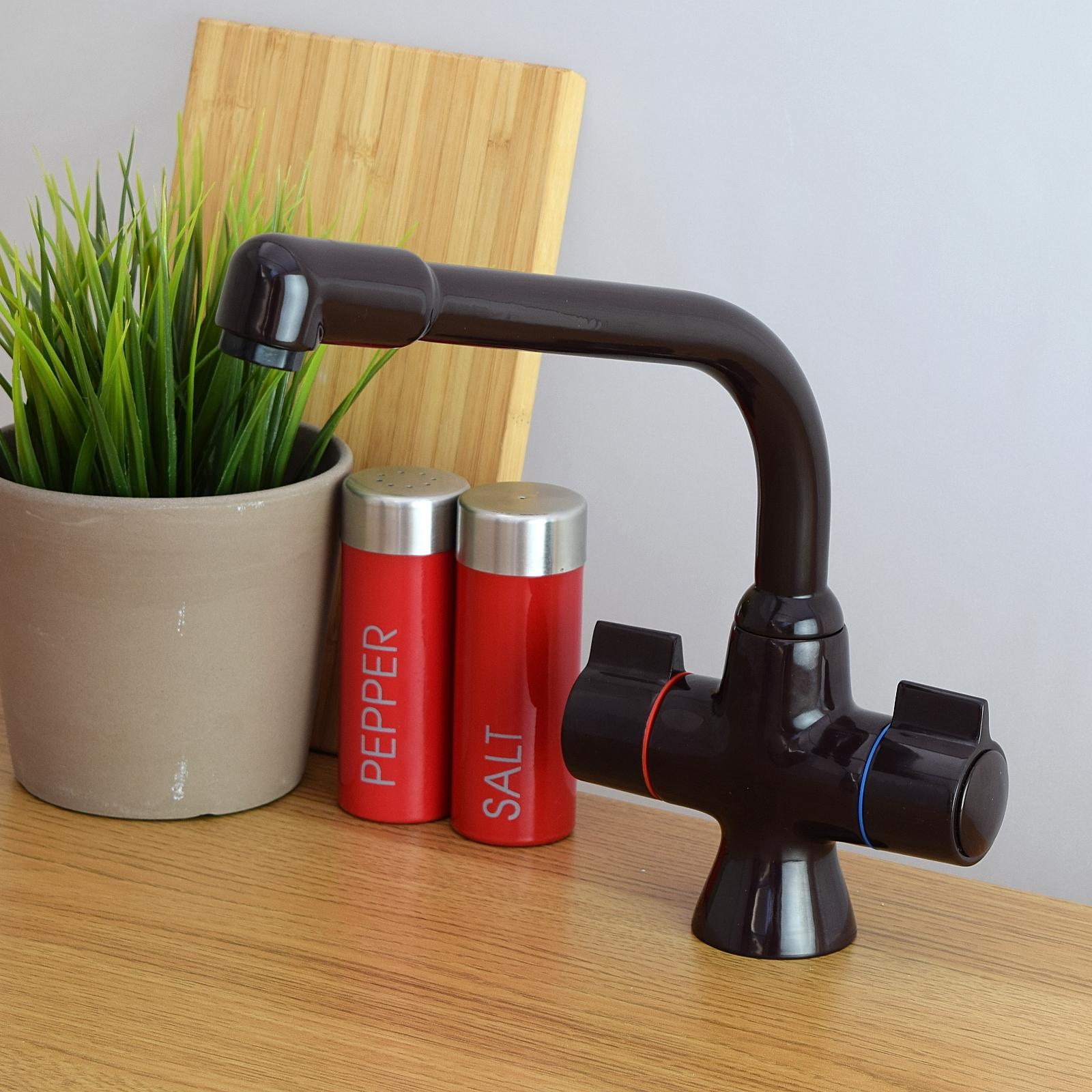 enki mitigeur vier de cuisine l 39 eau du robinet basse pression chrome acier ebay. Black Bedroom Furniture Sets. Home Design Ideas