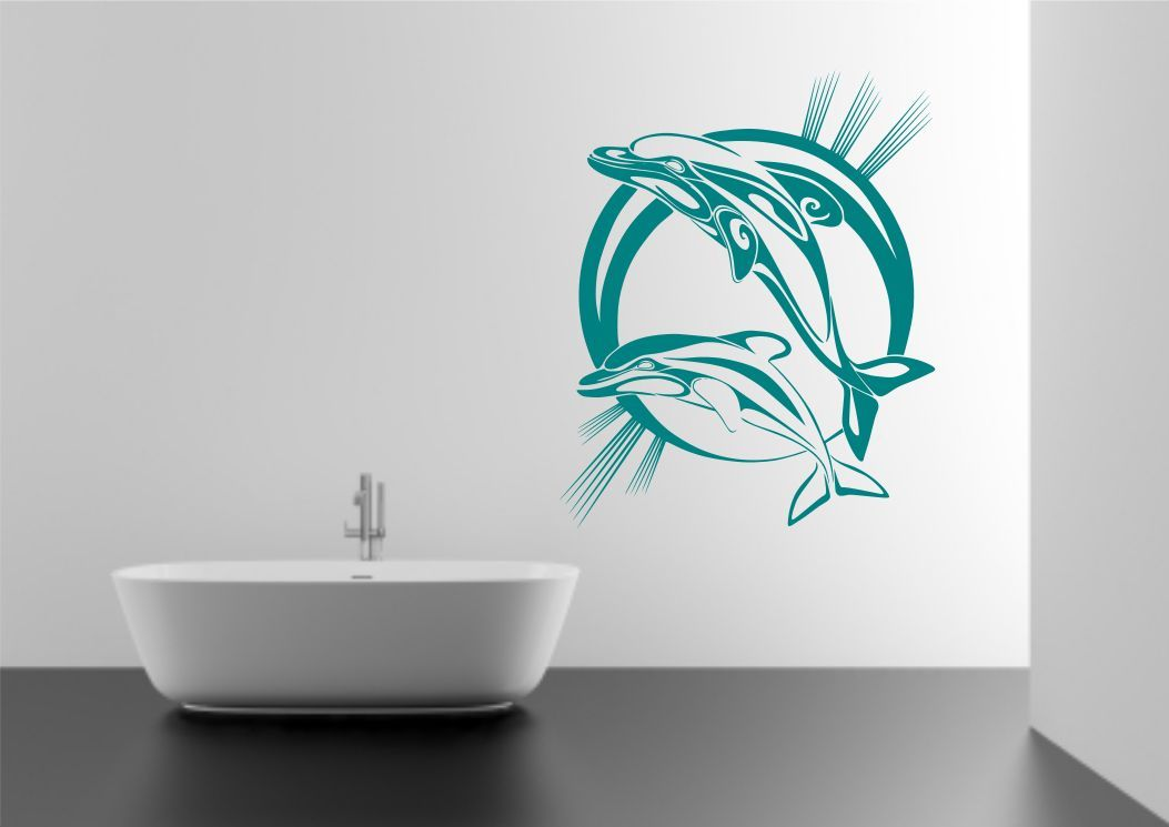 Dolphin Bathroom Wall Sticker Vinyl Decal Transfer Mural Stencil Art Tattoo Ebay