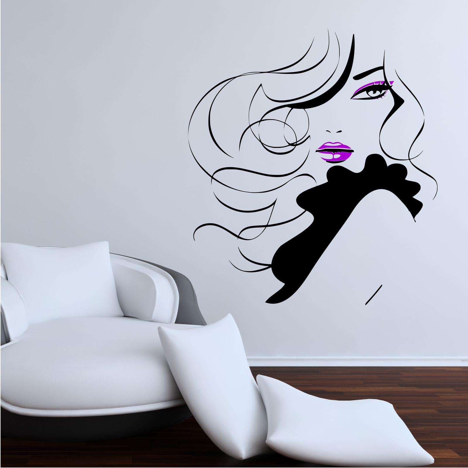 Pin-Up-Femme-Moderne-Salon-de-Coiffure-Autocollant-Mural-Decoration-Decalcomanie miniature 6