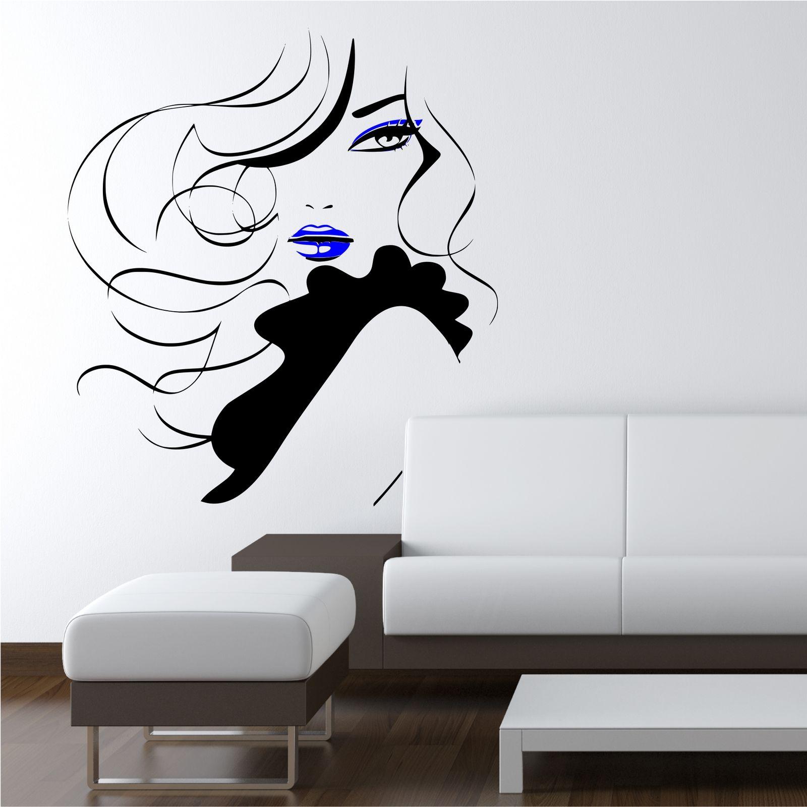 Wall Stickers Decor Modern Pin Up Girl Women Modern Hair Salon Wall Sticker Decal