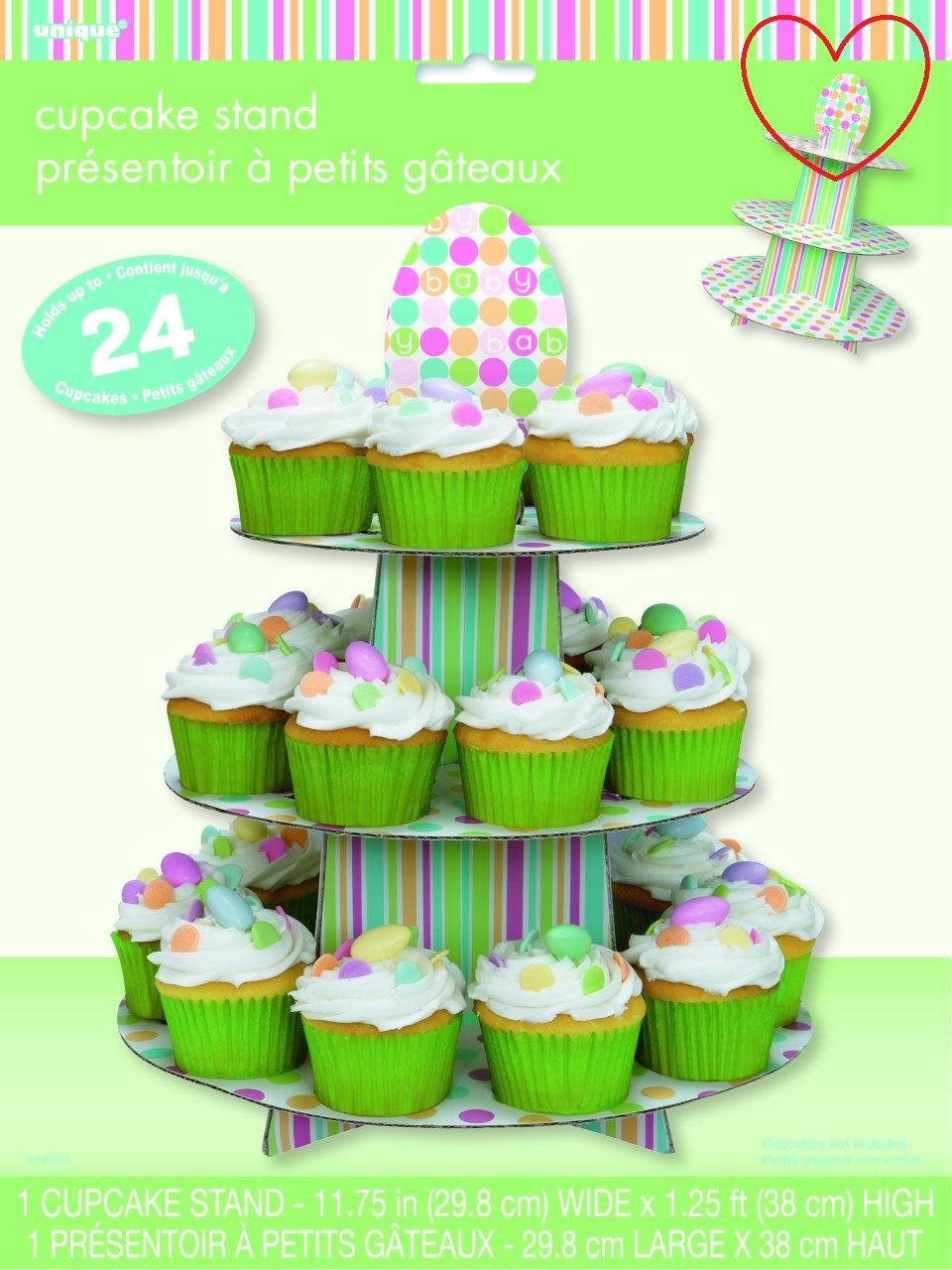 Unique Party Pastel Baby Shower Cupcake Stand Unisex Tableware