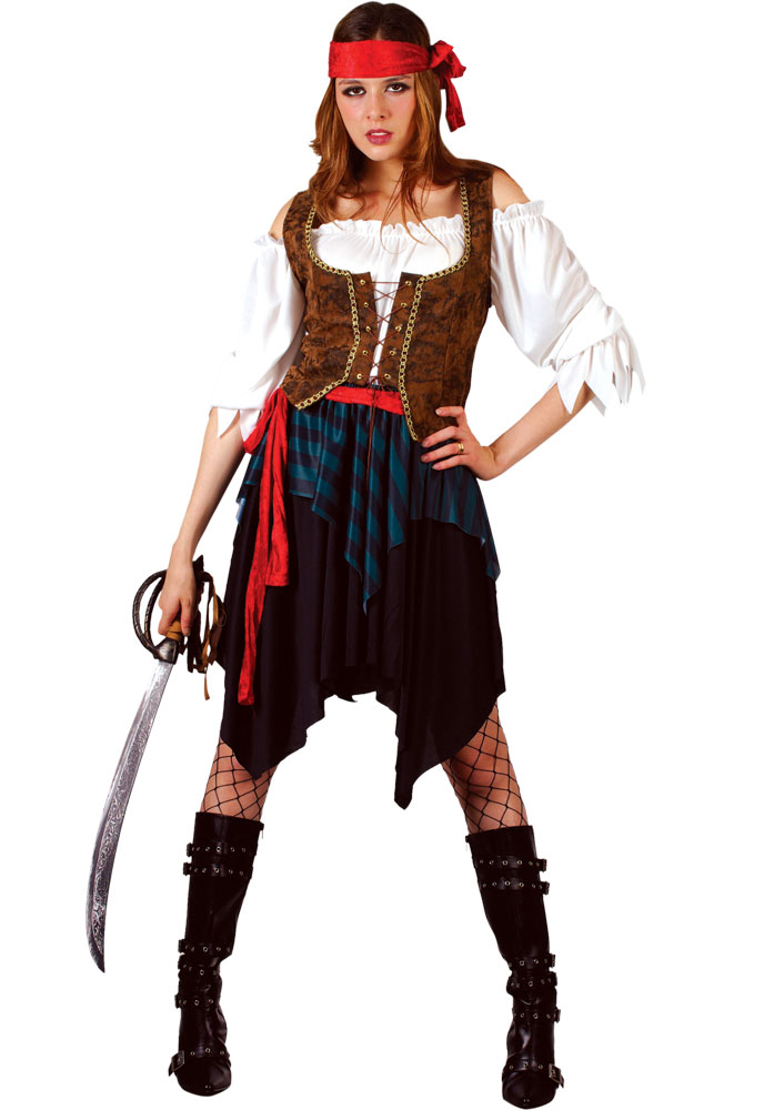 Adult Pirate Fancy Dress Costume Ladies Buccaneer