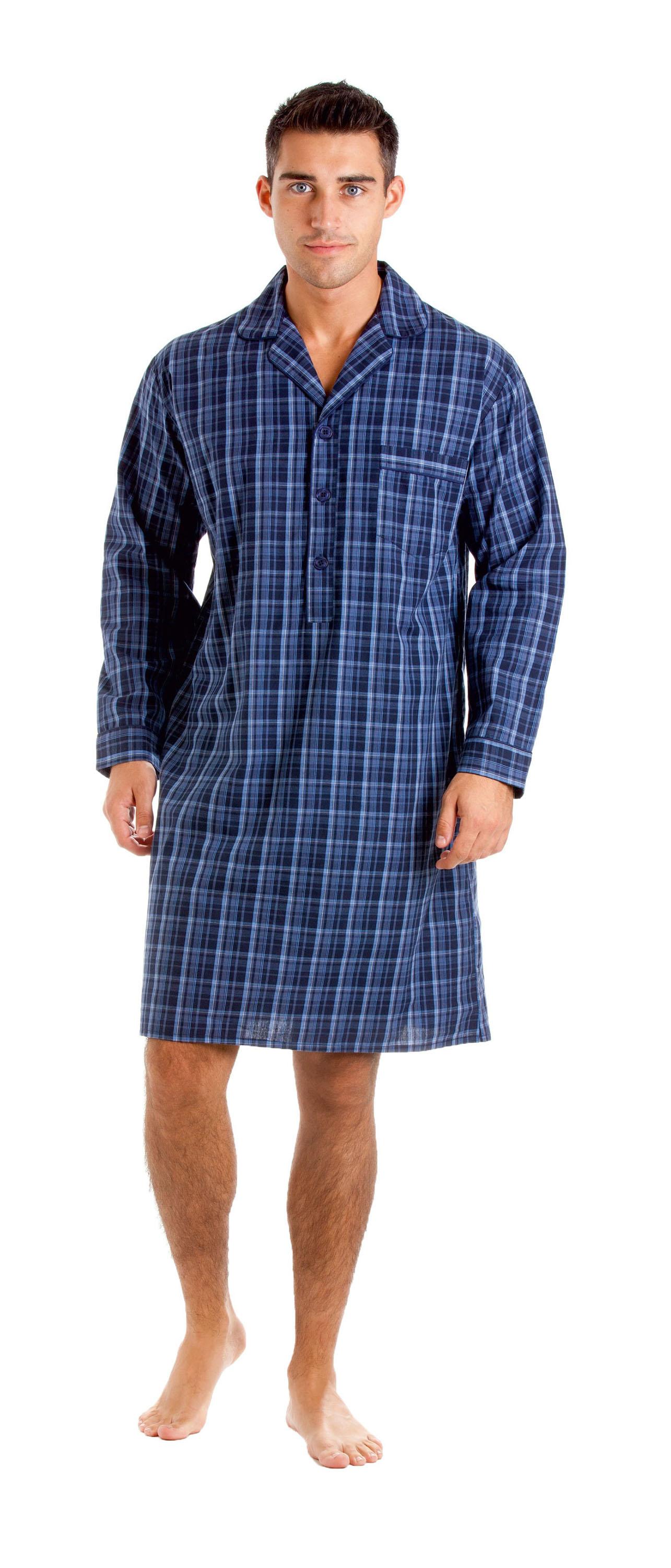 Haigman-Hombre-Lujo-Algodon-Popelina-Camison-Pijama-Ropa-Comoda-7391