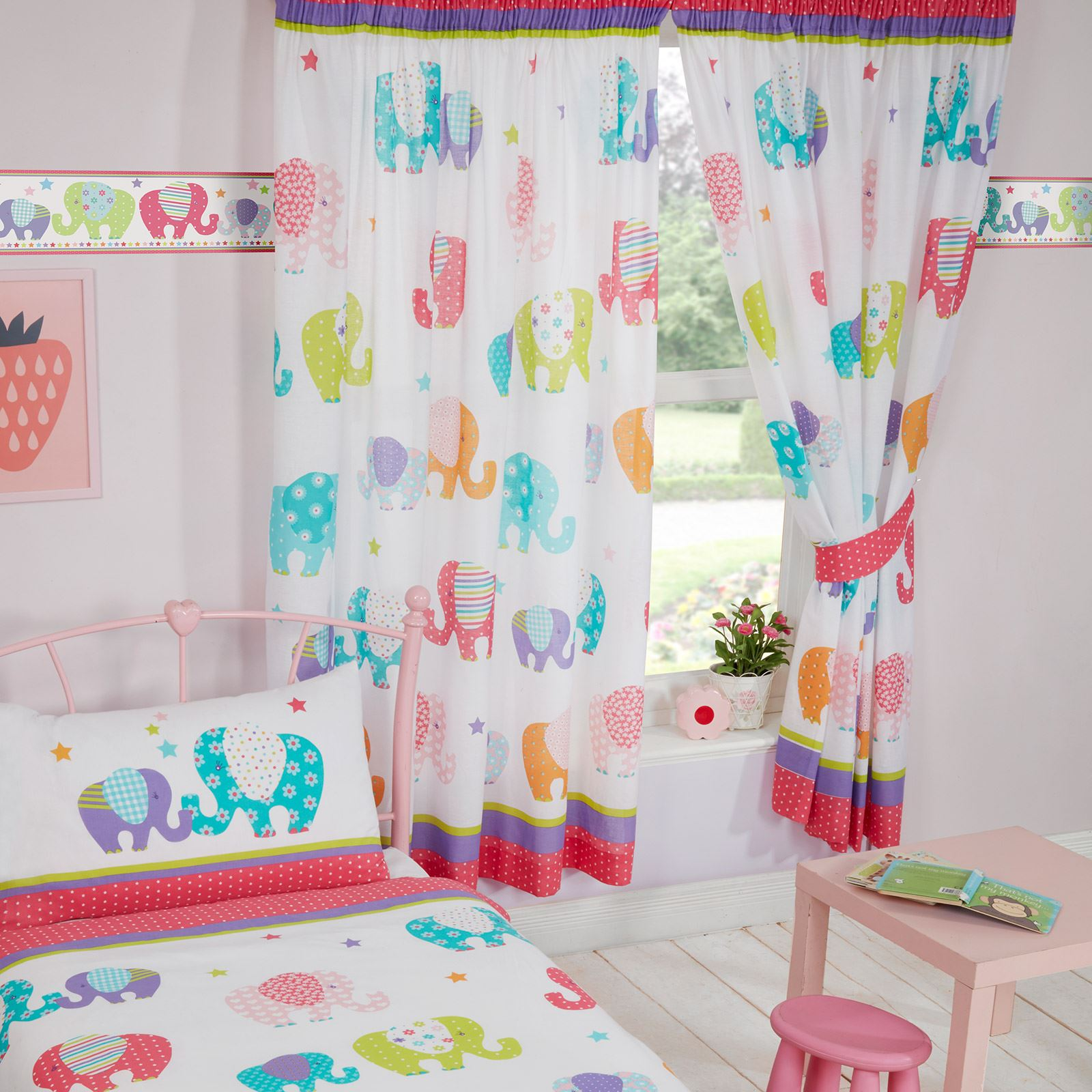 PATCHWORK ELEPHANT STARS MATCHING BEDDING SETS CURTAINS WALLPAPER