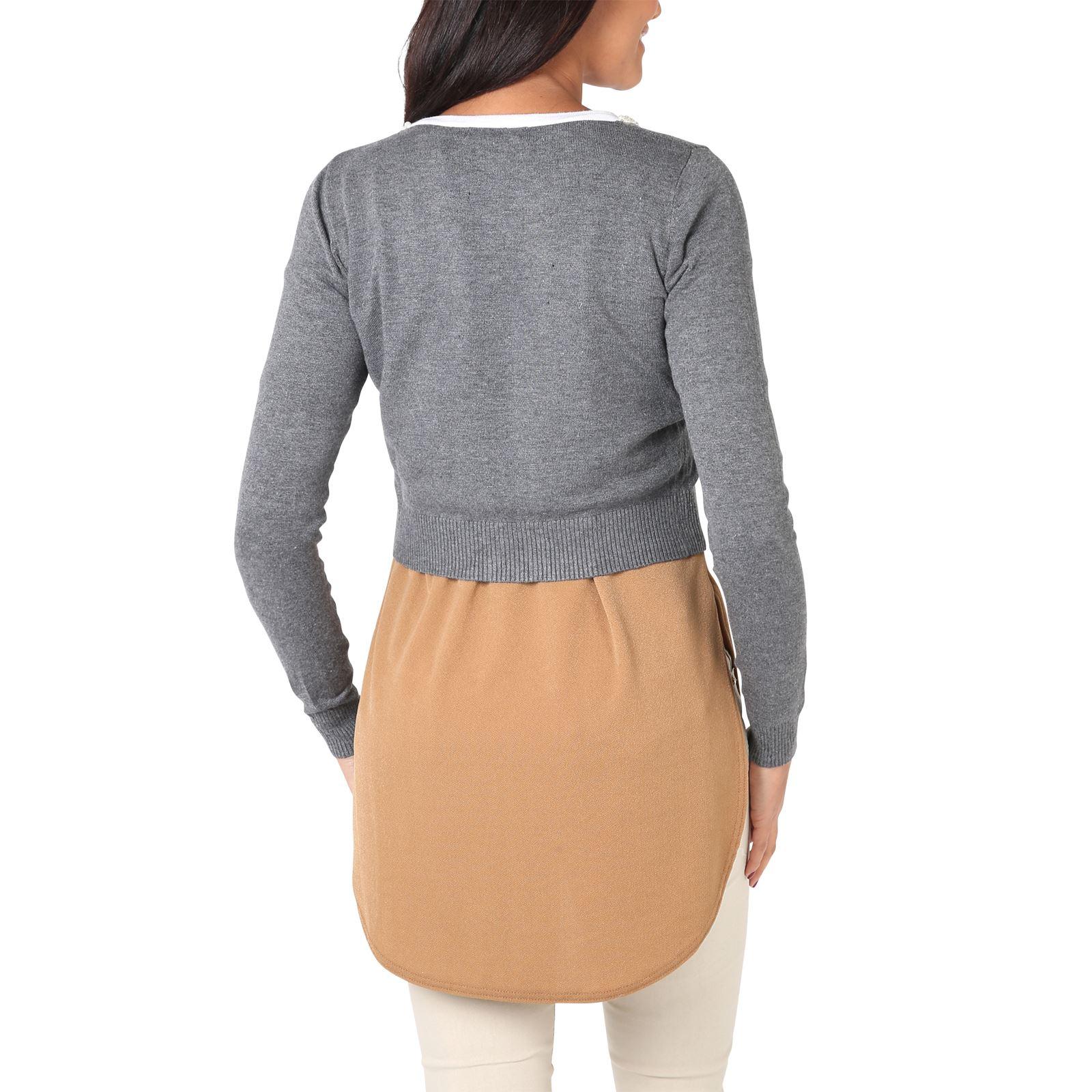 Donna-Cardigan-Maglia-Bolero-Coprispalle-Seta-Perle-Manica-collo-lungo-Lavoro miniatura 6