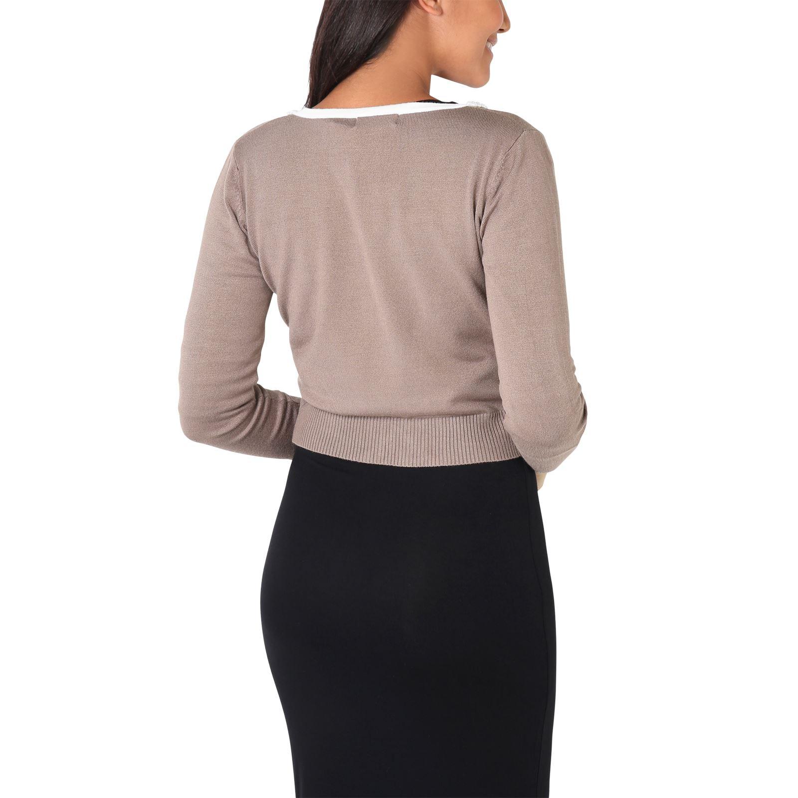 Donna-Cardigan-Maglia-Bolero-Coprispalle-Seta-Perle-Manica-collo-lungo-Lavoro miniatura 12