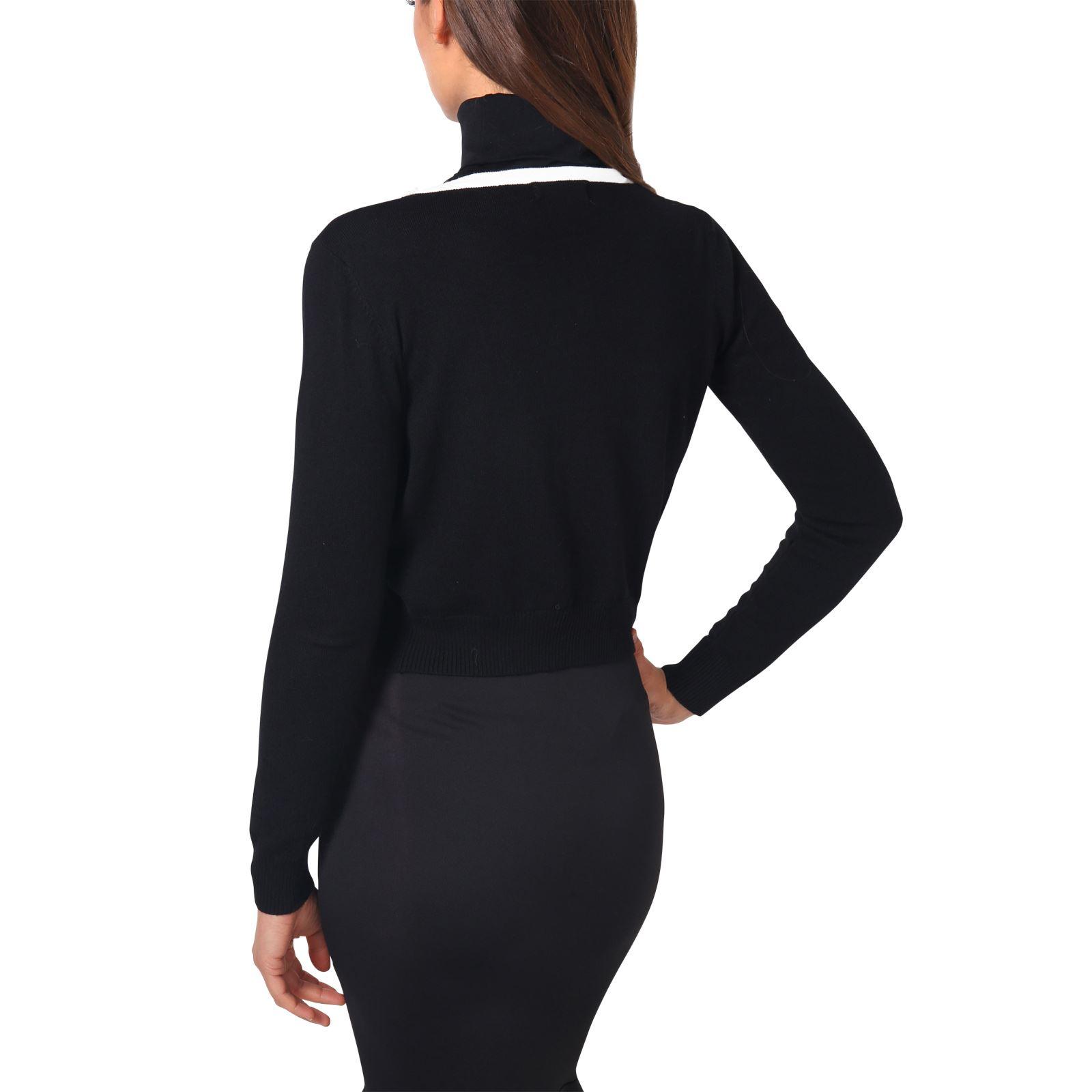 Donna-Cardigan-Maglia-Bolero-Coprispalle-Seta-Perle-Manica-collo-lungo-Lavoro miniatura 3