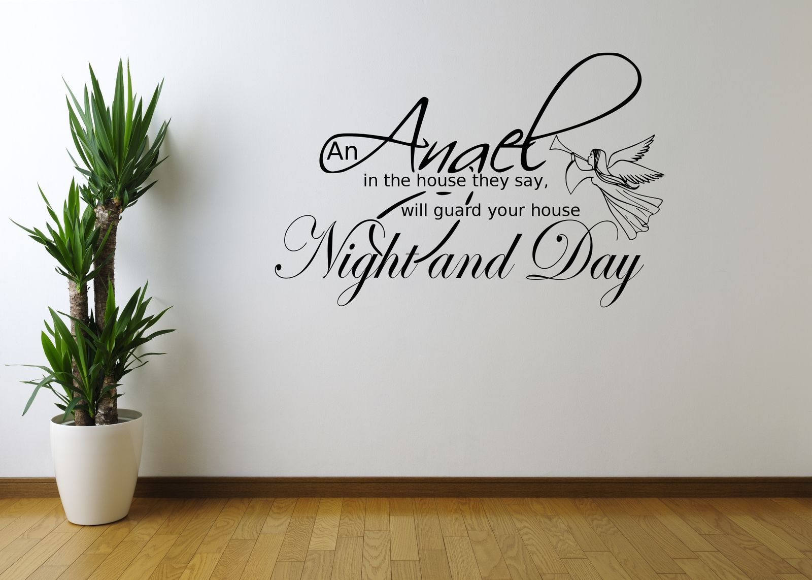 Angel night home quote wall art wall sticker decal mural for Stencil wall art