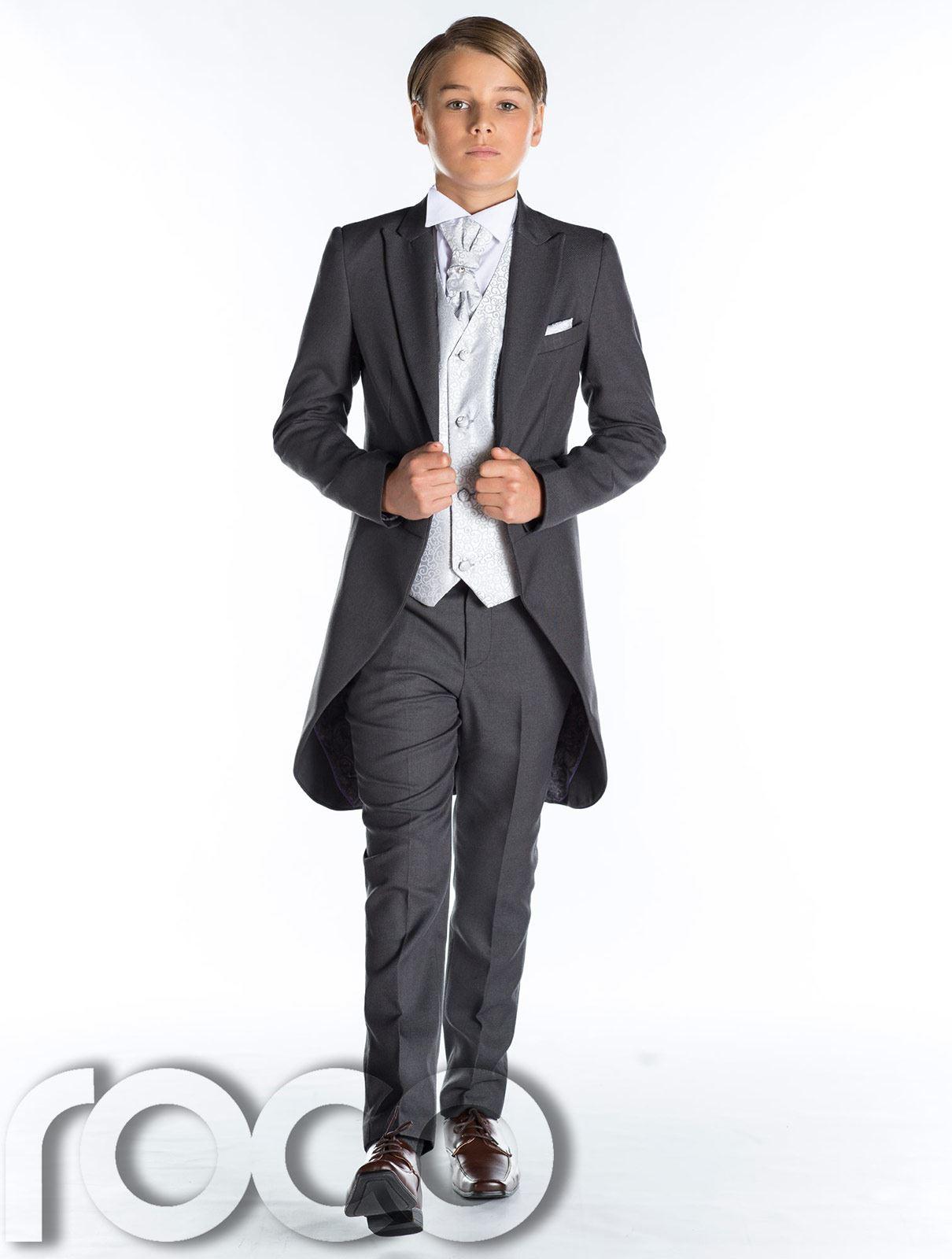 Grau frack anzug jungen hochzeit outfits prom anzug for Festliche kindermode hochzeit jungen