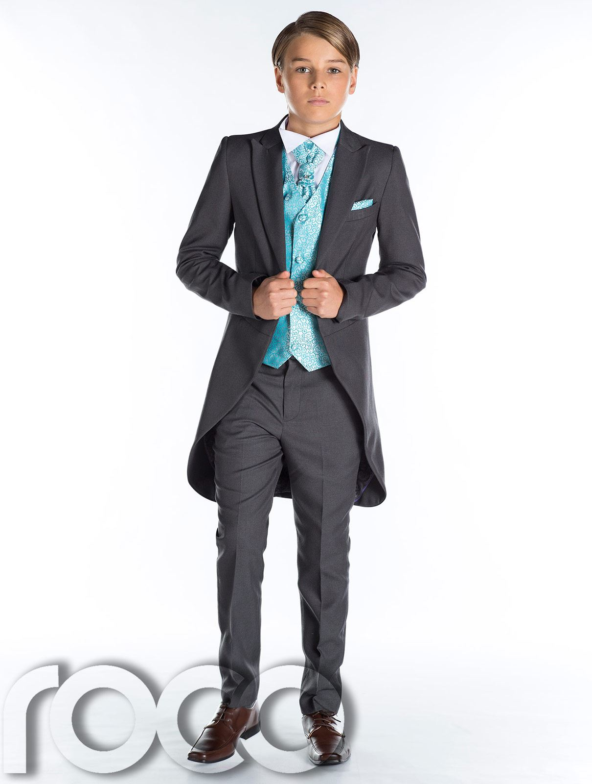 grau Frack Anzug, Jungen Hochzeit Outfits, prom-anzug, Seite grauer ...