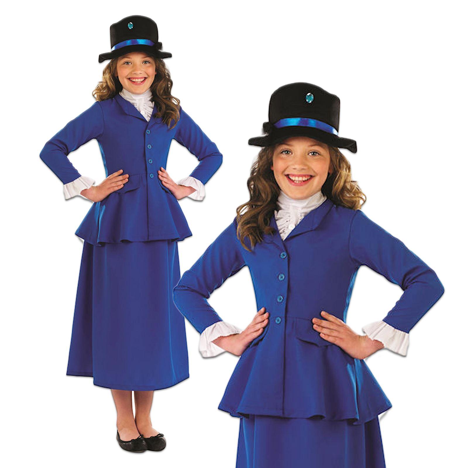 m dchen blau viktorianisch nanny buch woche tag mary poppins kost m kleid outfit ebay. Black Bedroom Furniture Sets. Home Design Ideas