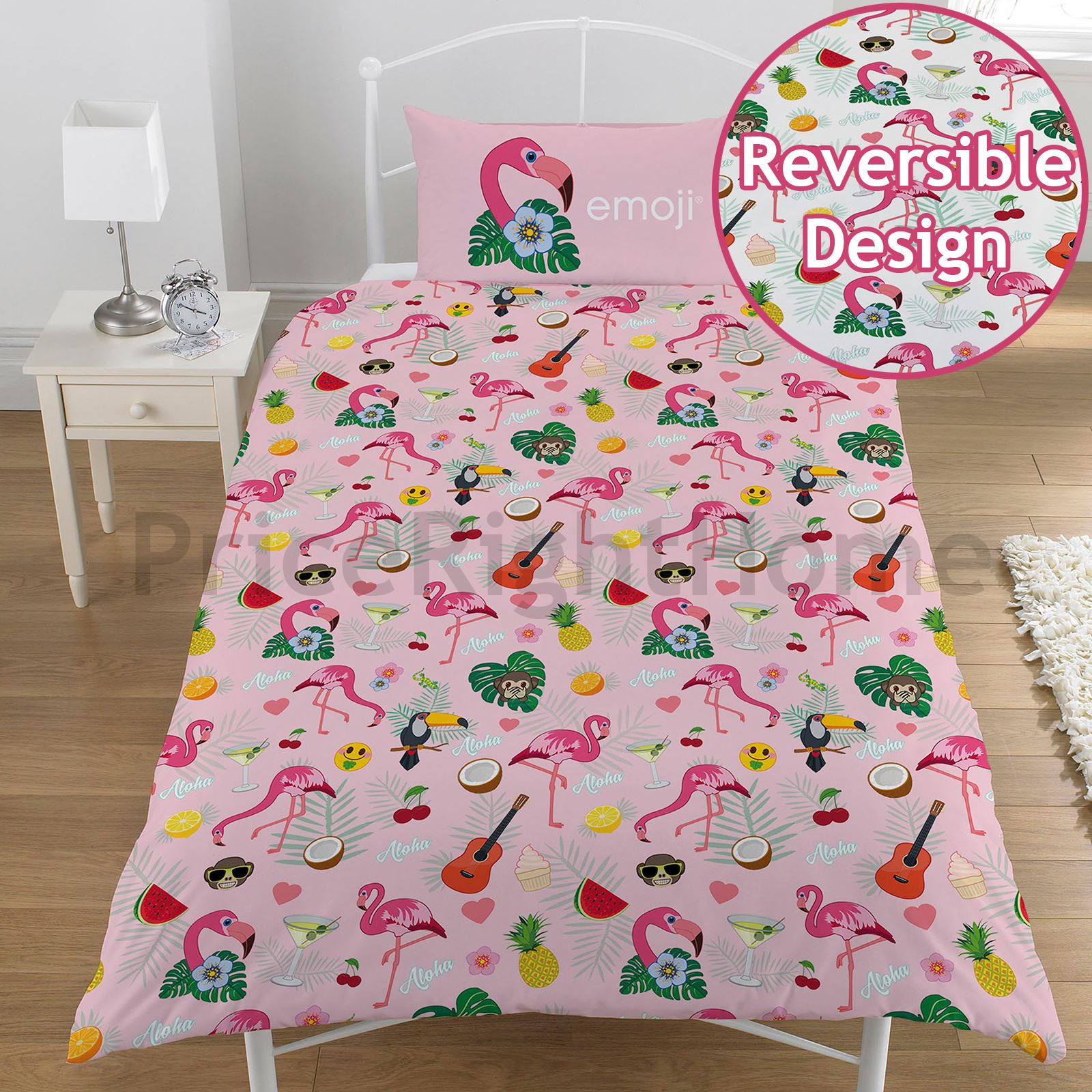 Flamant-Rose-Housse-de-couette-ensembles-enfants-adultes-LITERIE-Simple