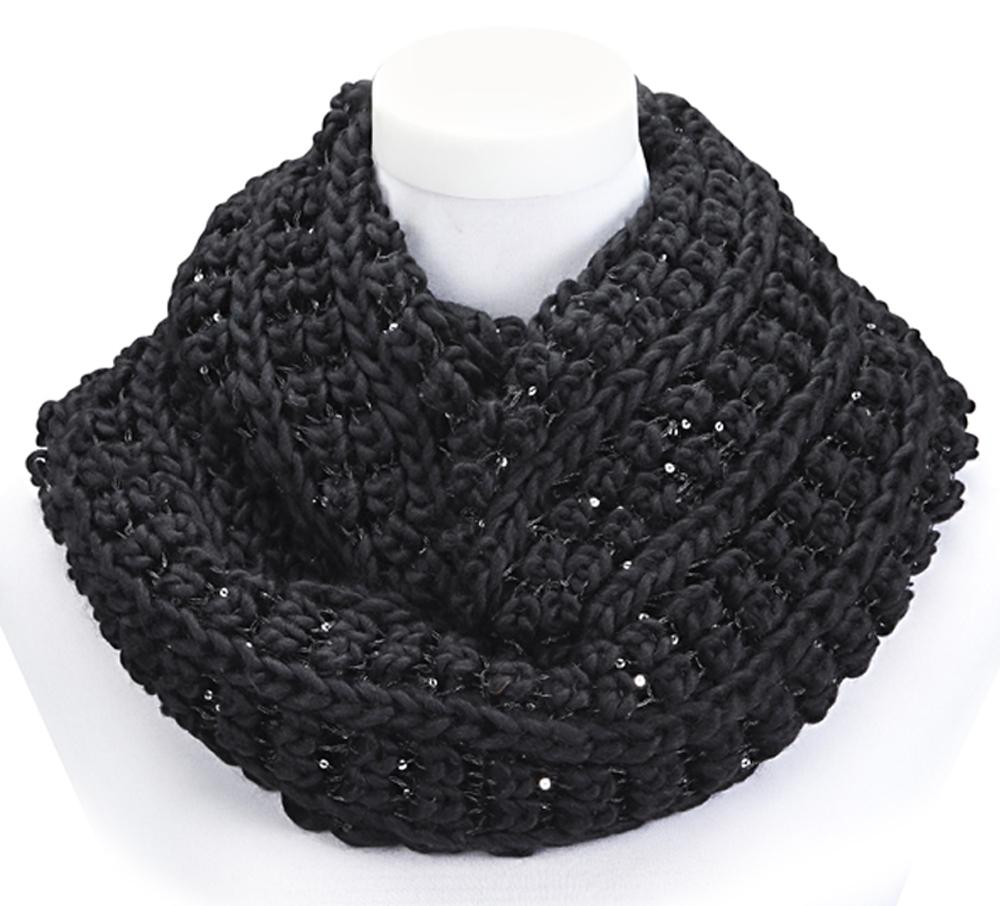 femmes hiver charpe tube tour de cou avec paillettes ronde tricot e 65x35 ebay. Black Bedroom Furniture Sets. Home Design Ideas