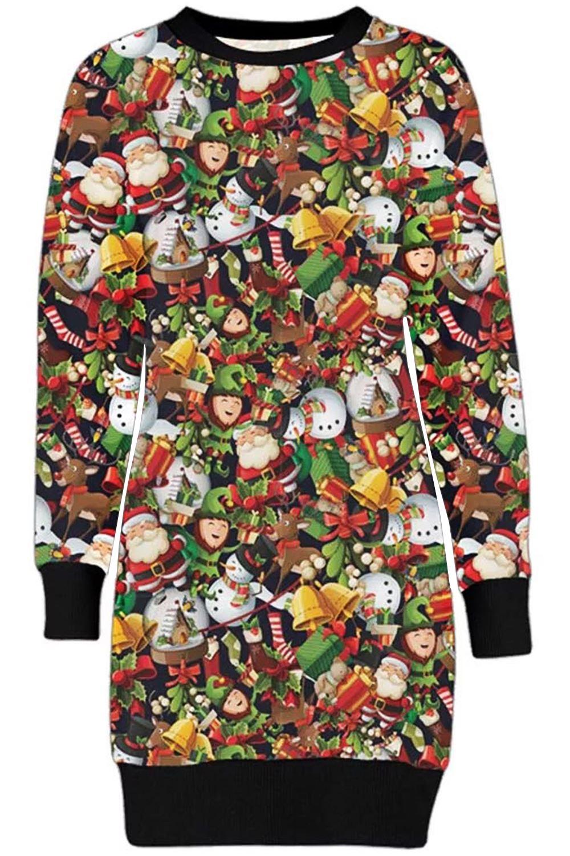 tunique de noel Femmes Polaire Noël Lutin Renne Père Noël Tunique Long Robe Pull  tunique de noel